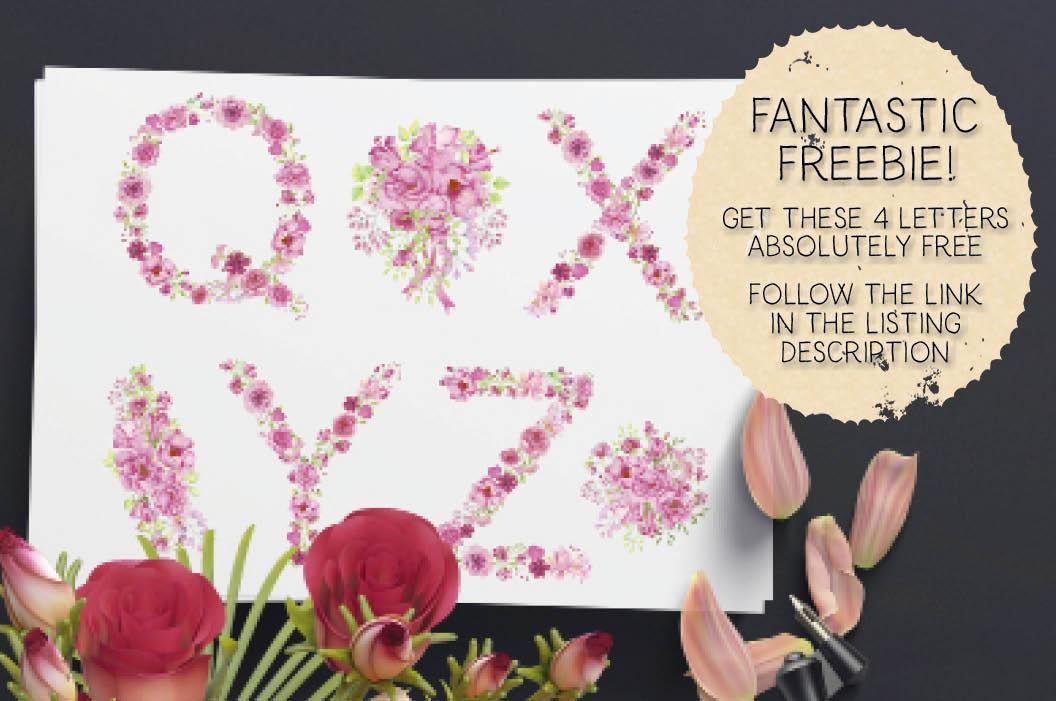 Pink floral alphabet in watercolors plus FREEBIE example image 6