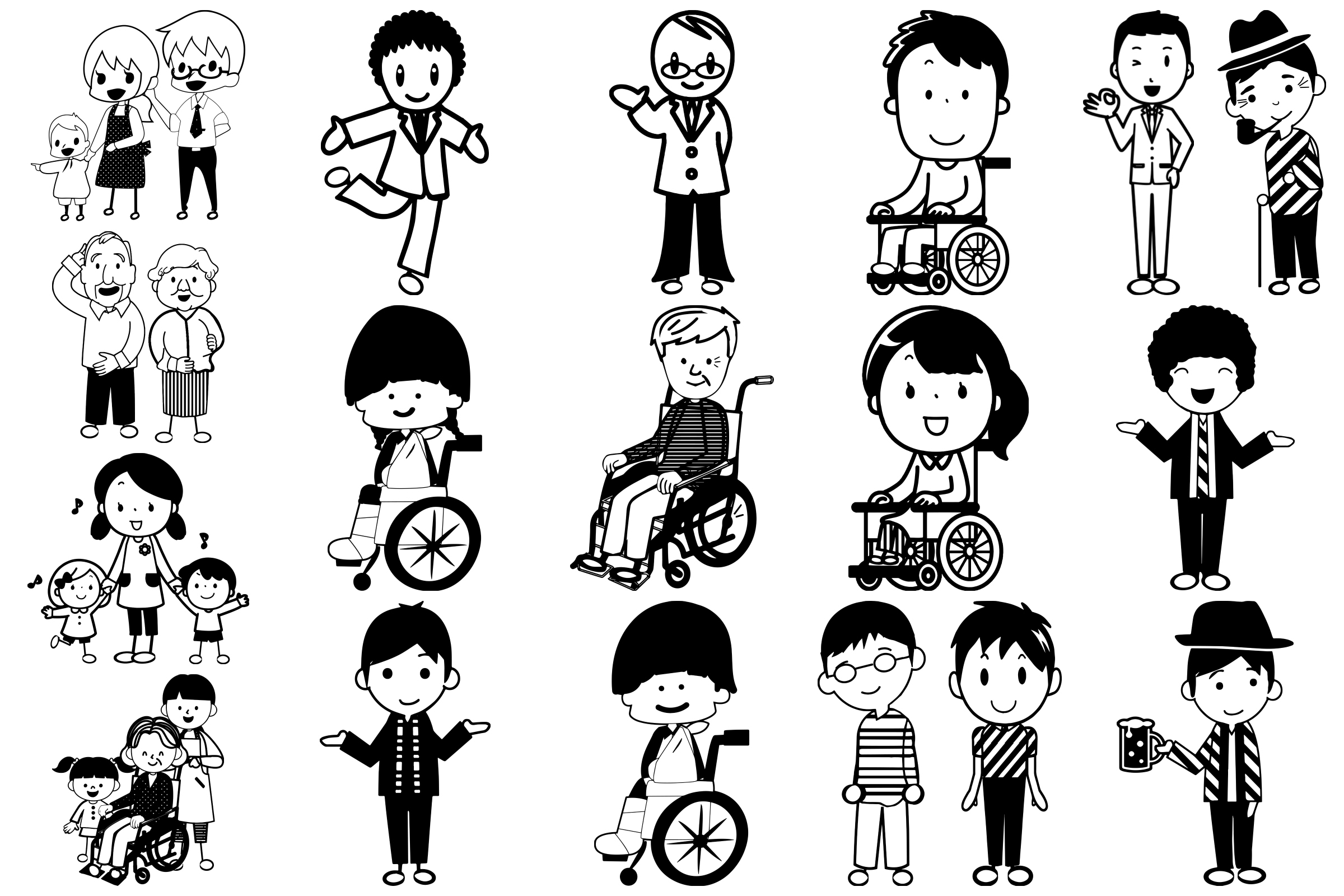 Stick People of Many Kinds AI EPS PNG example image 4