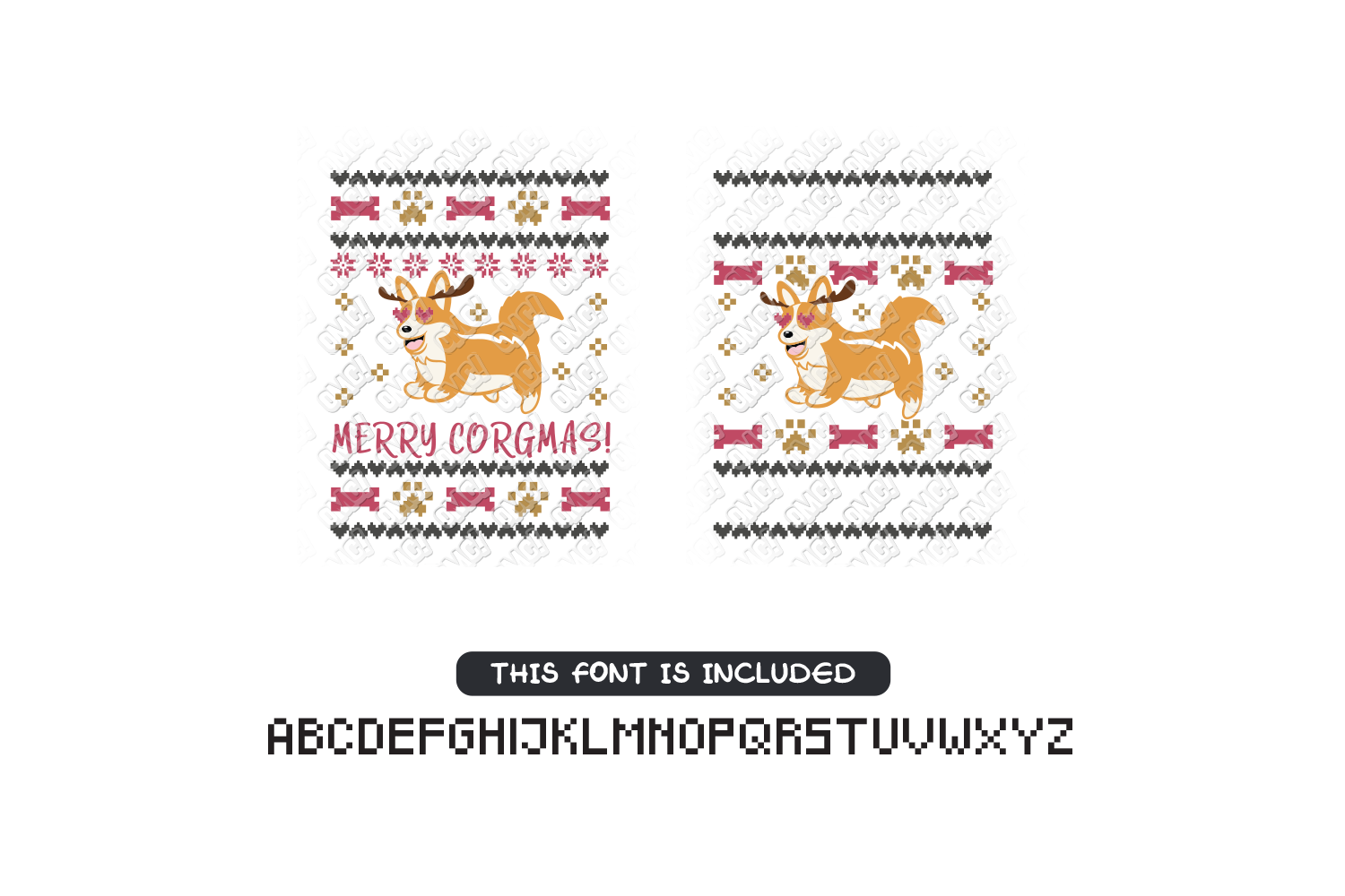Dog Ugly Christmas SVG Template in SVG, DXF, PNG, EPS, JPG example image 4