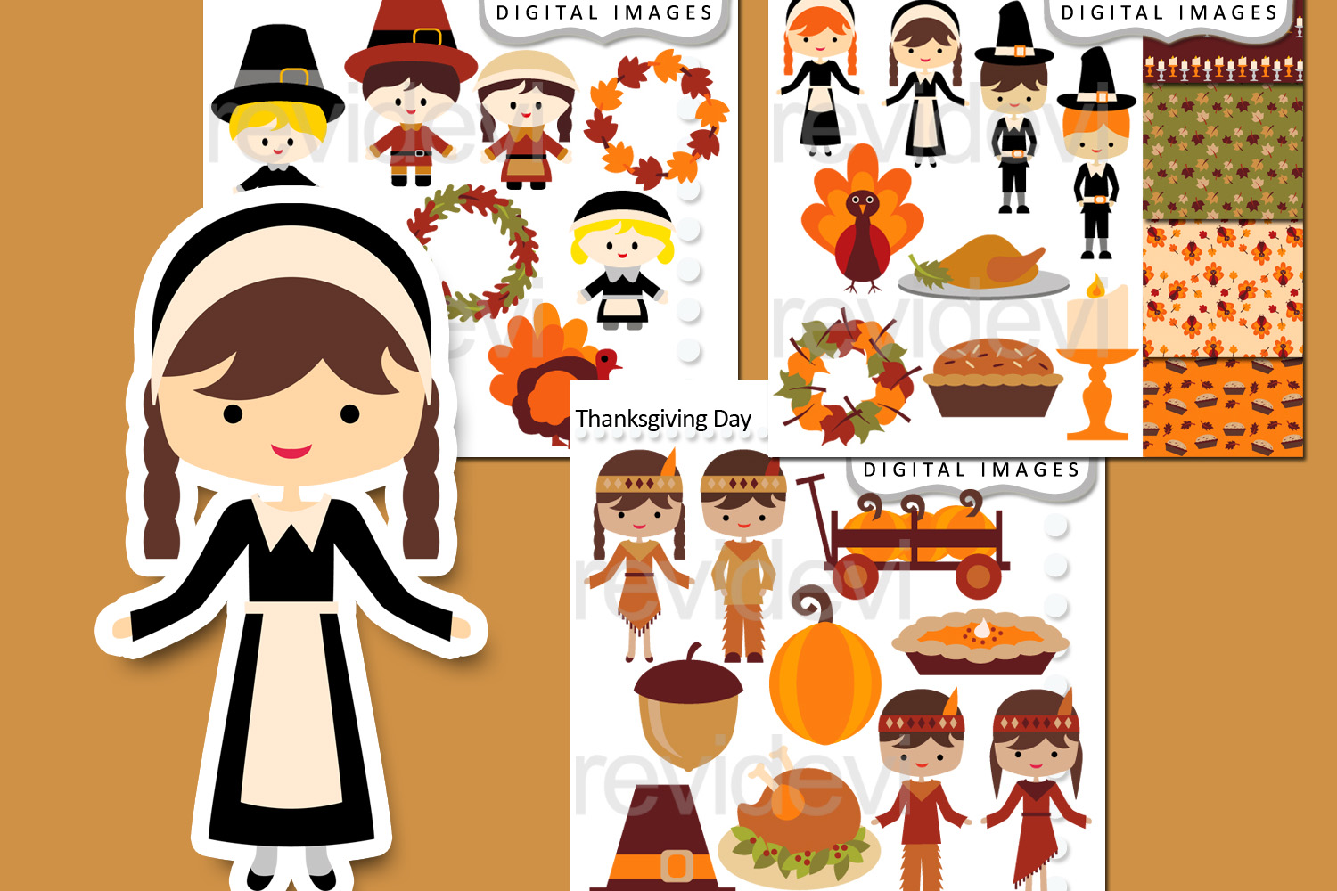 Thanksgiving Day Bundle Clipart Graphics example image 1