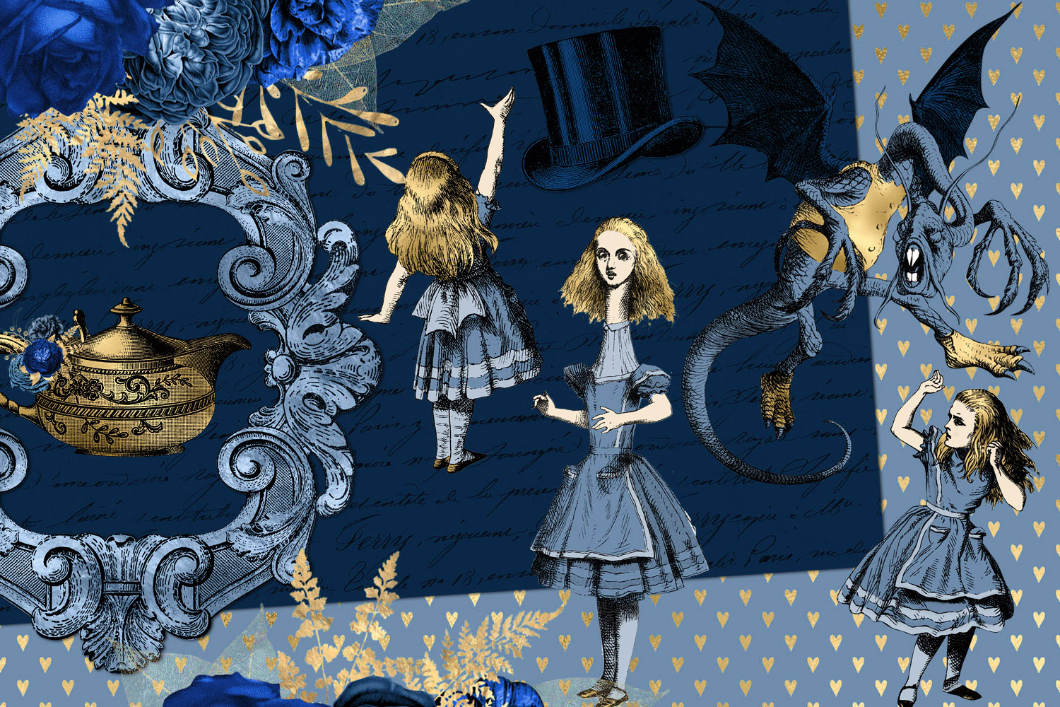 Navy Blue and Gold Alice in Wonderland Graphics example image 3