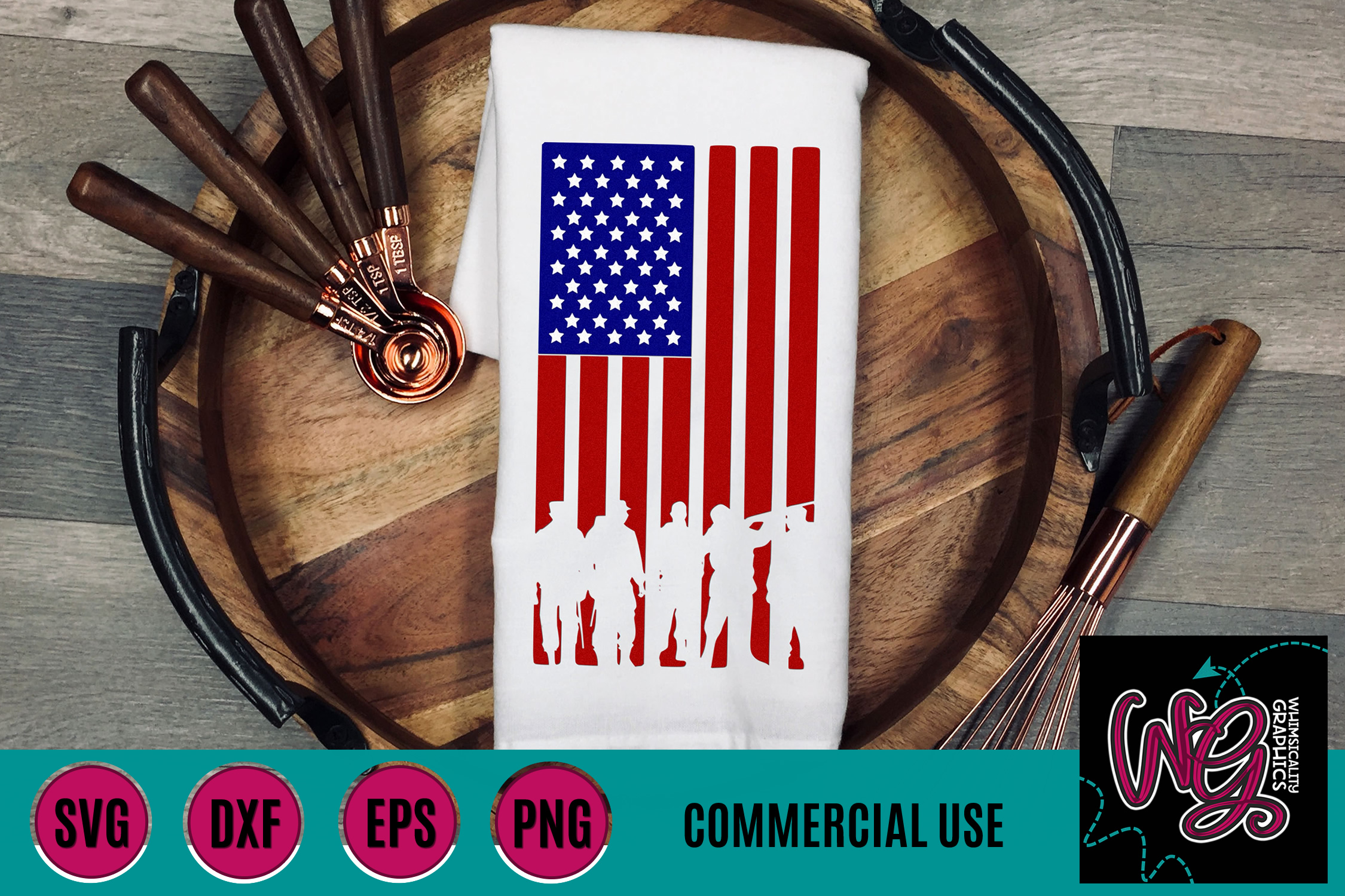 Traditional American Flag Military Veterans SVG DXF PNG EPS