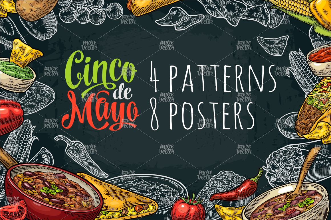 Cinco de Mayo lettering and mexican food. Vector engraving example image 1