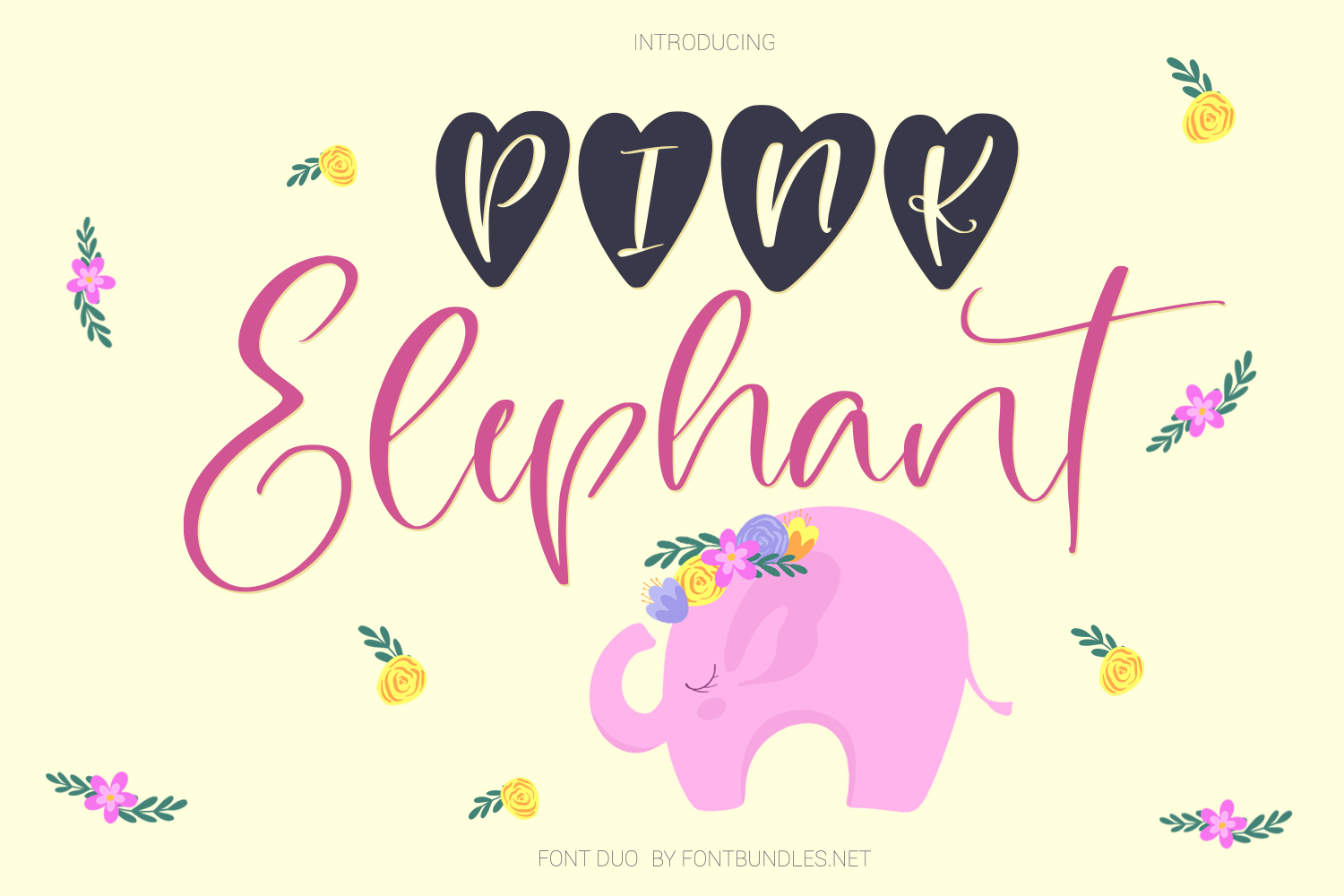 Pink Elephant. Cute font duo example image 1