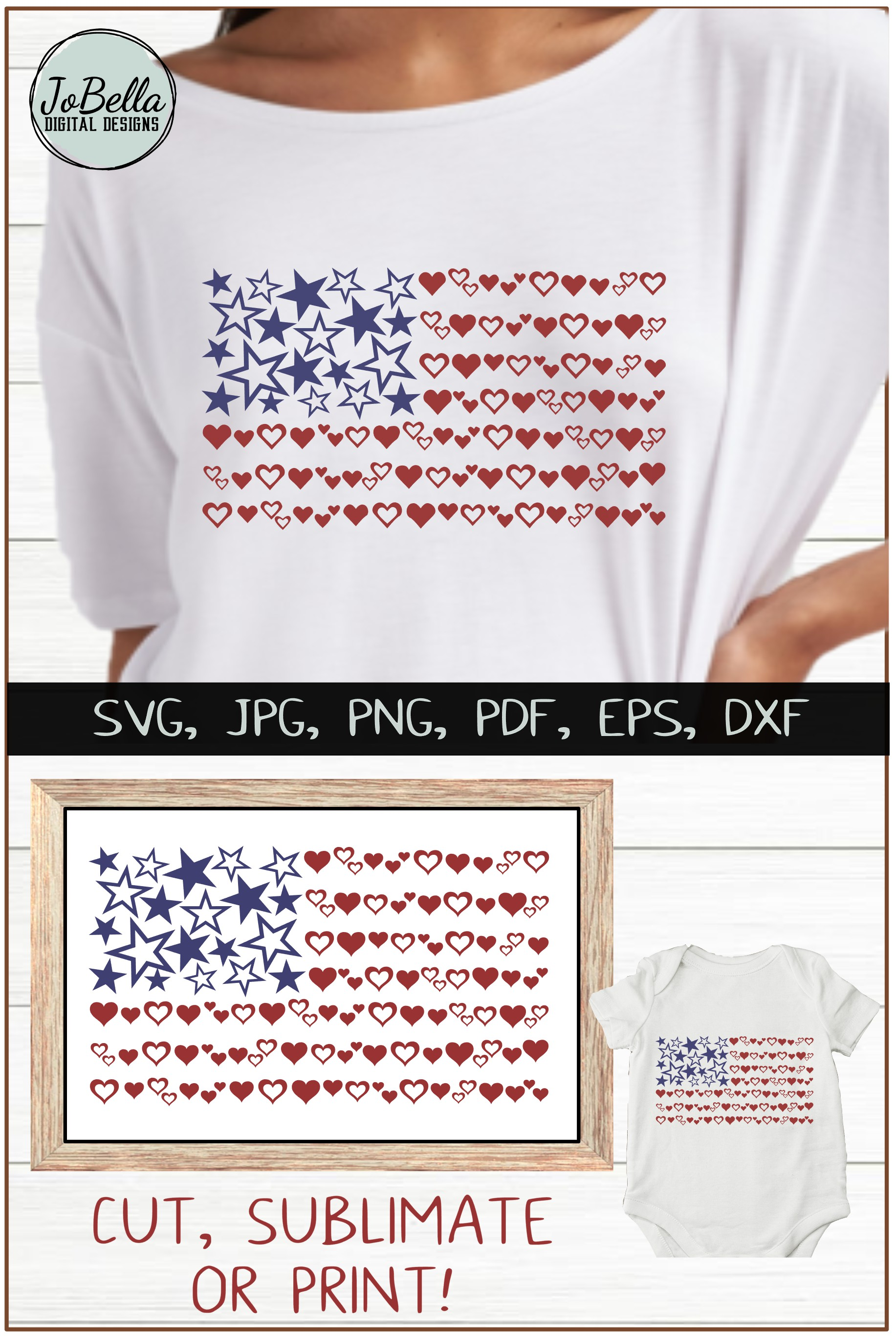 Hearts & Stars American Flag SVG & July 4th Sublimation PNG example image 5