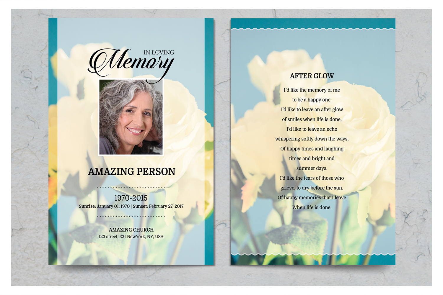 Yellow Flower Funeral Prayer Card Template example image 2