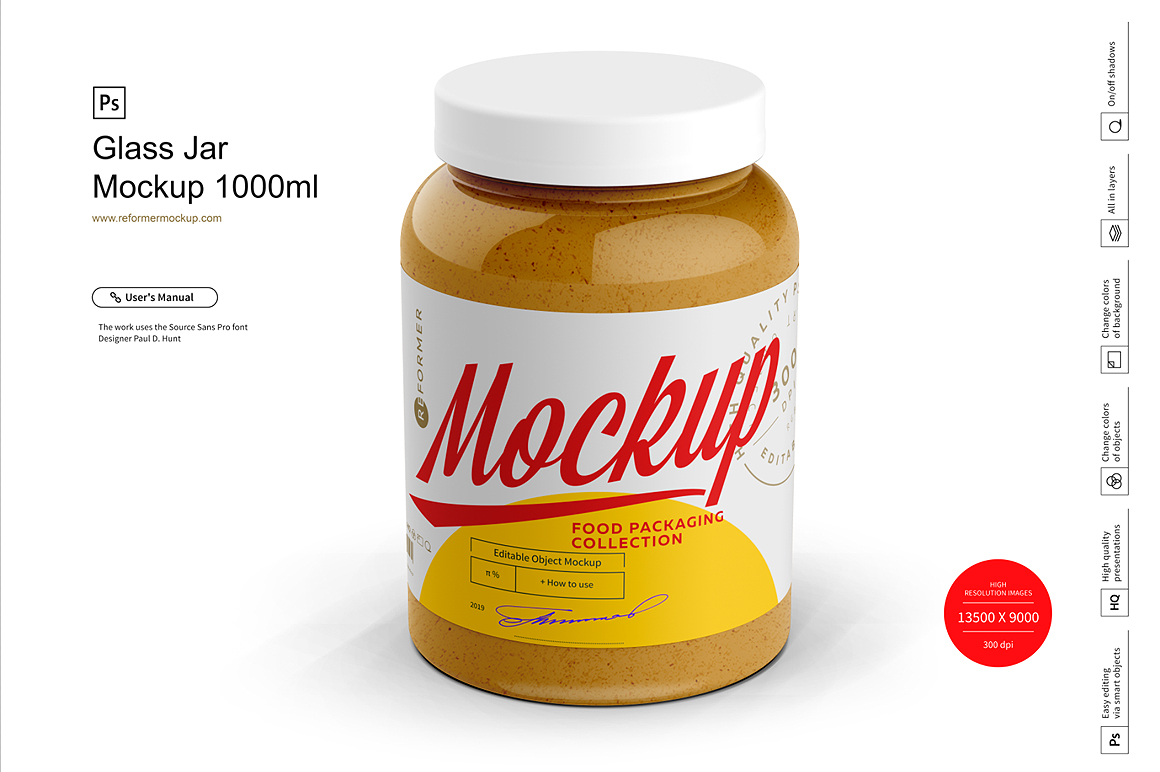 Glass Jar Mockup 1000ml example image 6