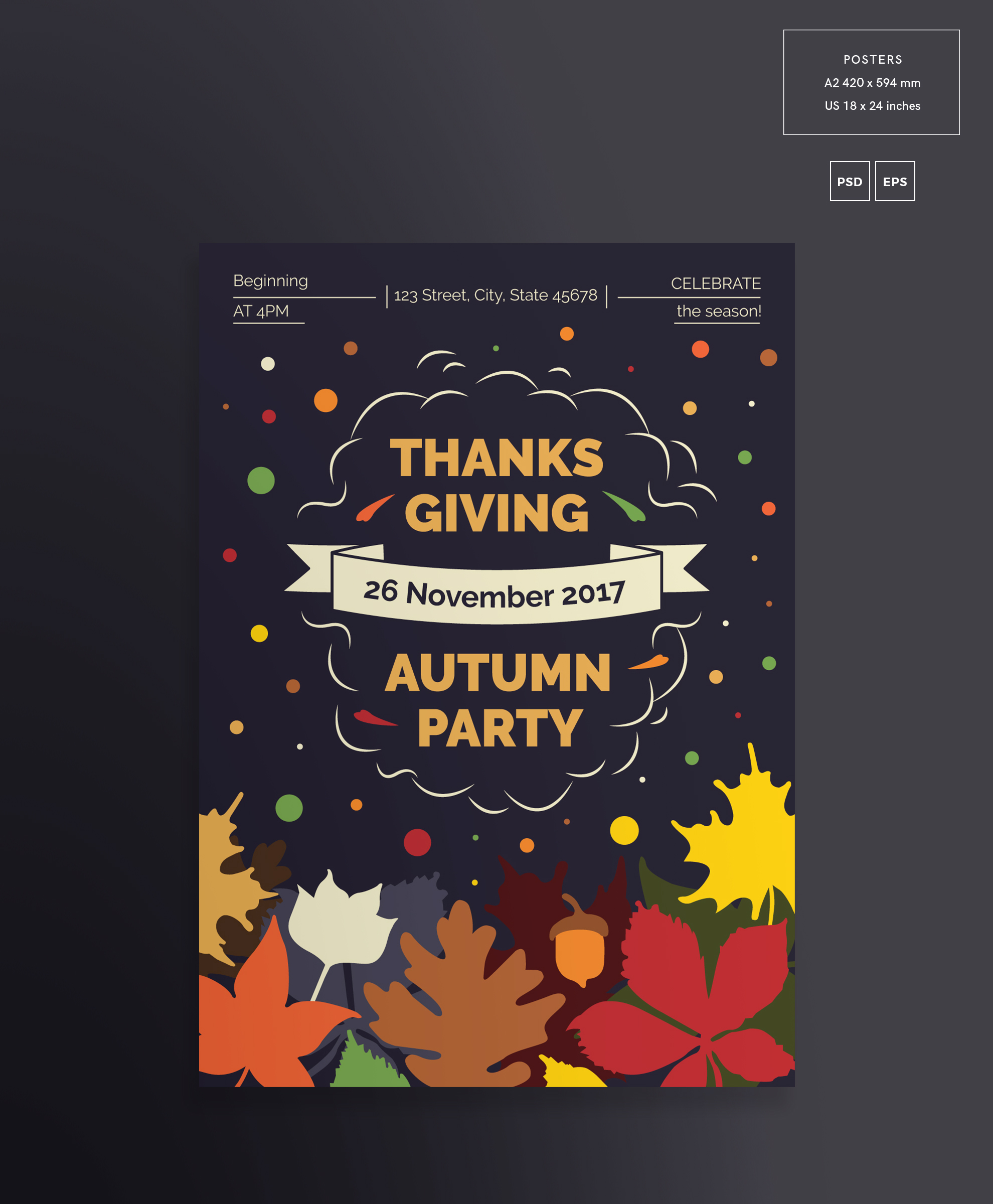Thanksgiving Autumn Party Design Templates Bundle example image 3