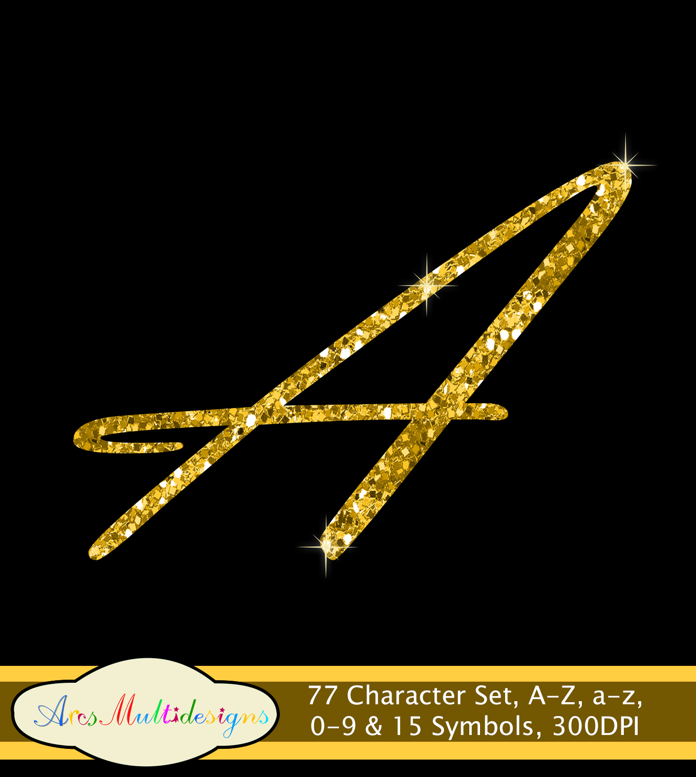Glitter gold alphabet script / PNG high quality alphabet set for all kind of projects / digital fonts / gold letters / gold fonts example image 2