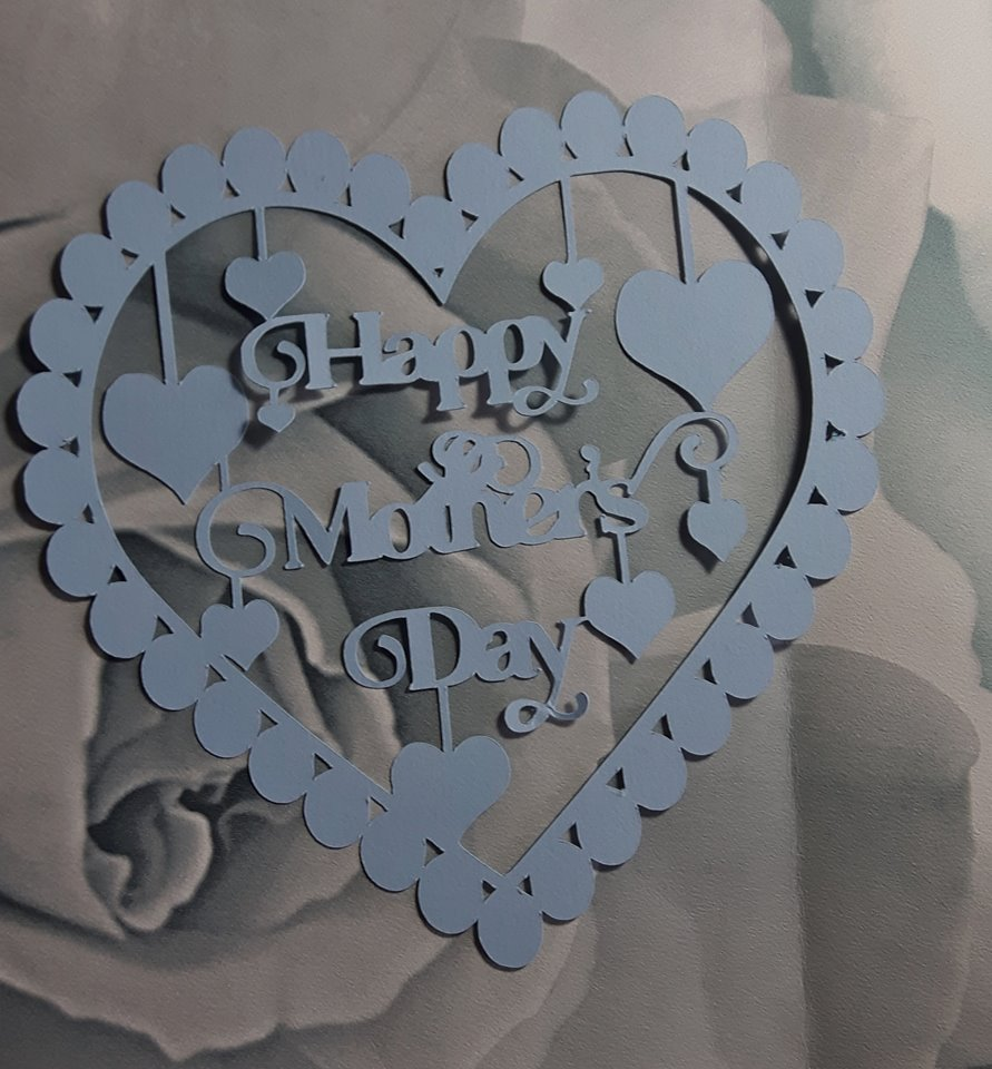 Happy Mother's Day with hearts papercutting template example image 4