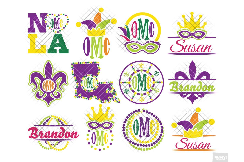 Mardi Gras Monogram Frames SVG Bundle example image 1
