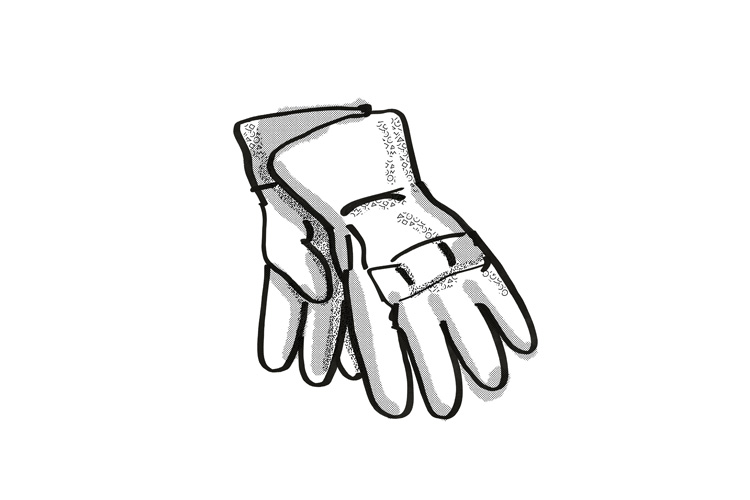 gardening gloves Garden Tool Cartoon Retro Drawing example image 1