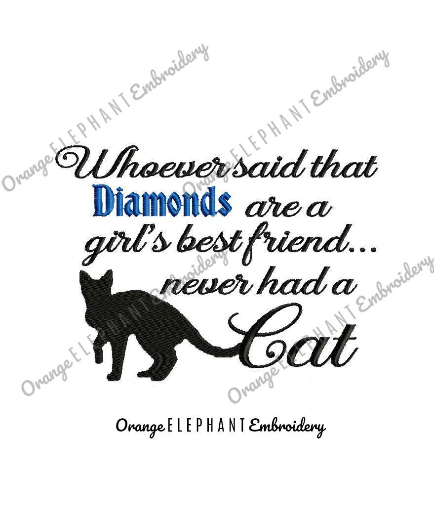 Diamond Cat Unique Urban Machine Embroidery Design digital File  example image 1