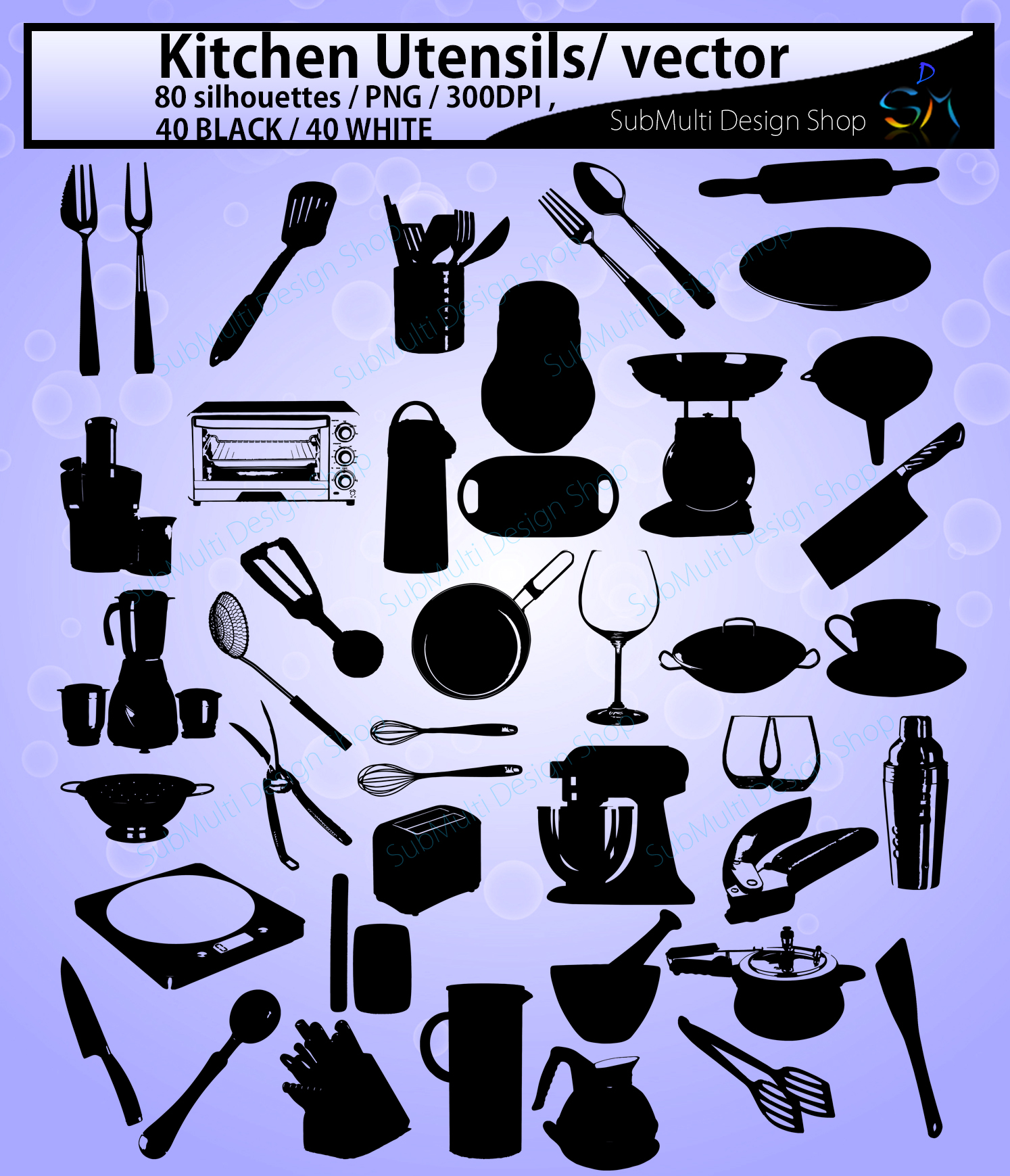 Kitchen Utensils silhouette svg / Kitchen Utensils clipart / Kitchen Utensil for scrapbook and card making /vector / EPS / PNG / craft files example image 2