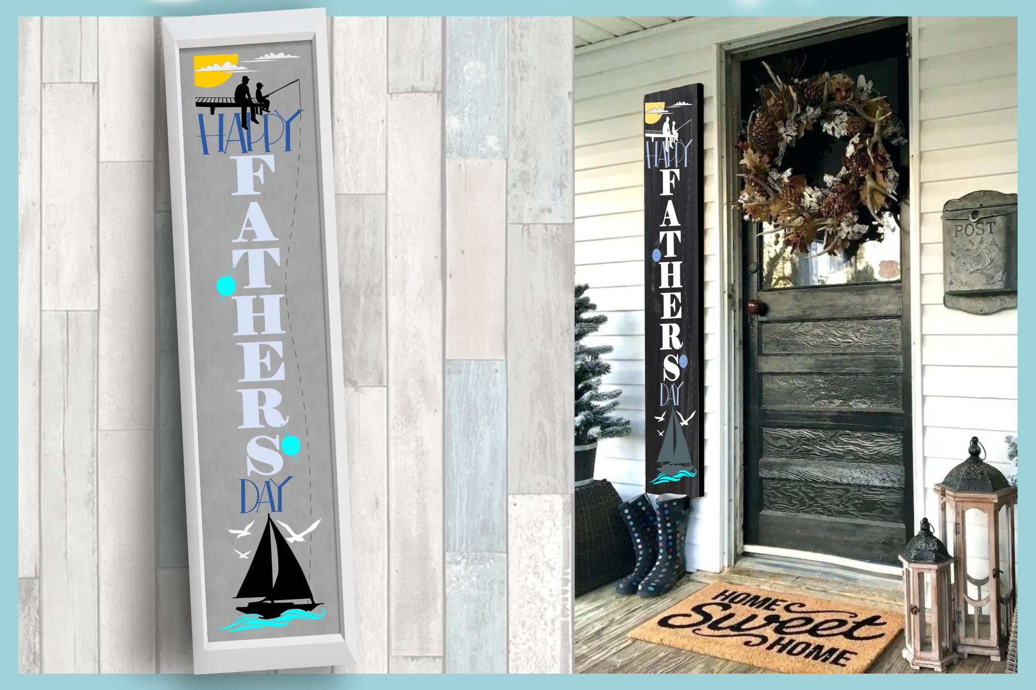 Holiday Tall Vertical Front Porch Sign Bundle SVG example image 13