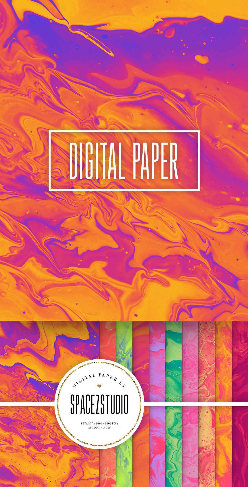 Bright Ink Textures - Liquid Paint Digital Paper example image 6