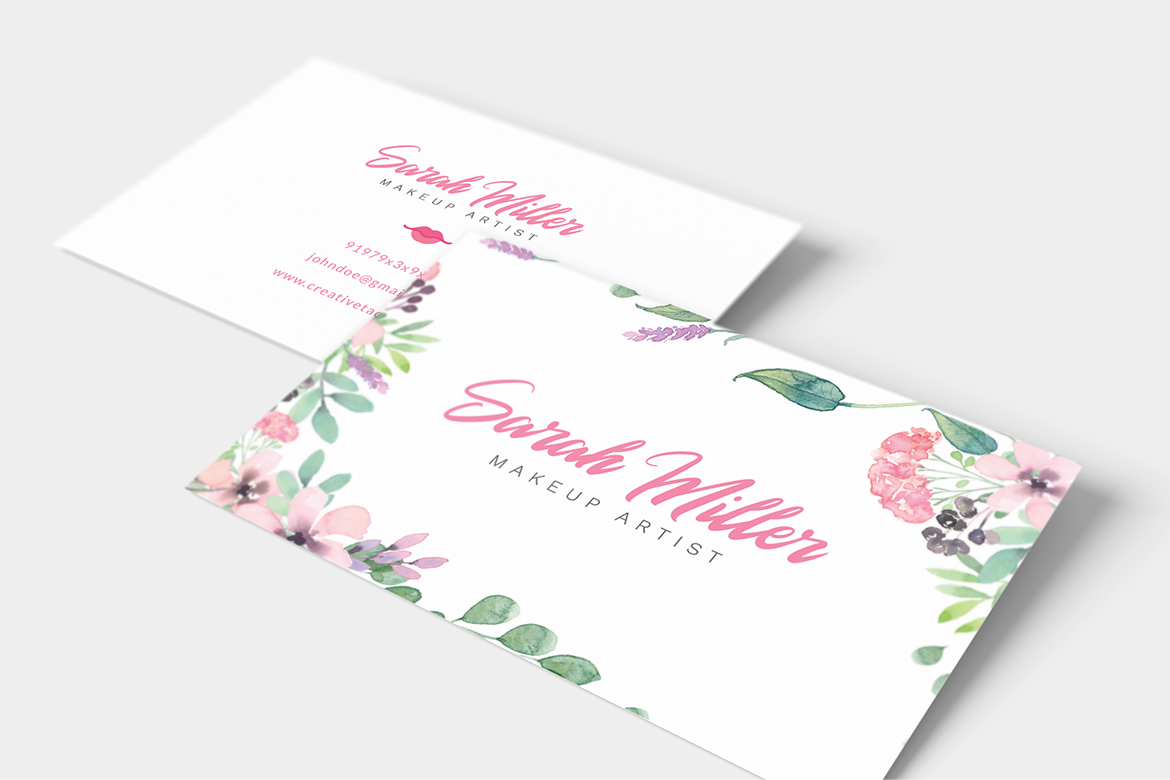 Floral Minimalist Business Card Template example image 8