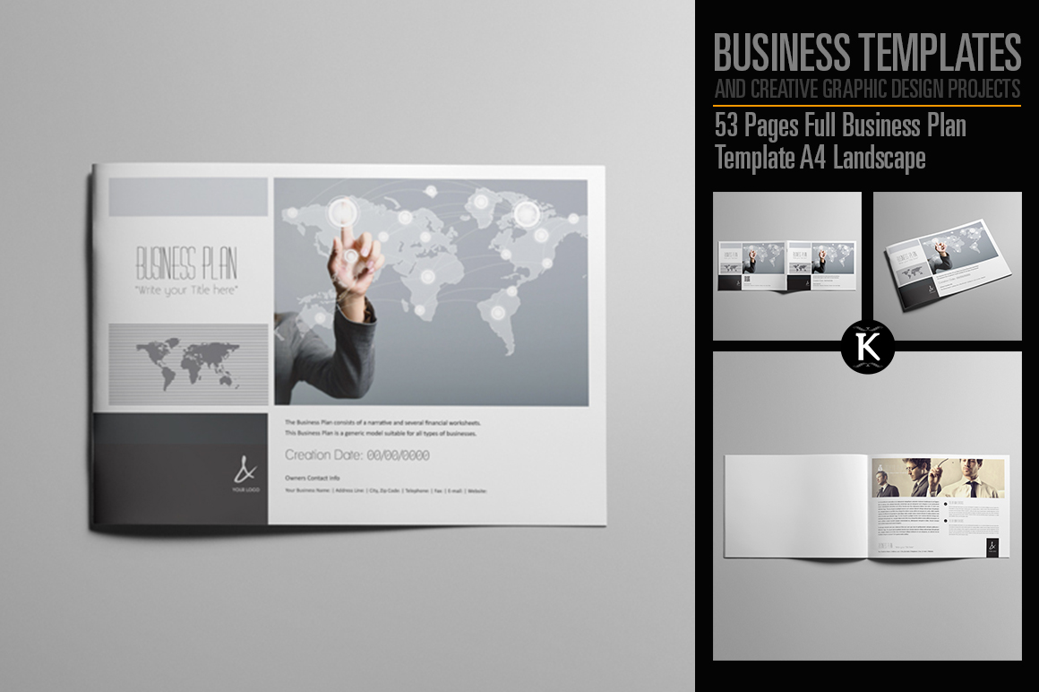 53 Pages Full Business Plan Template - A4 Landscape example image 1