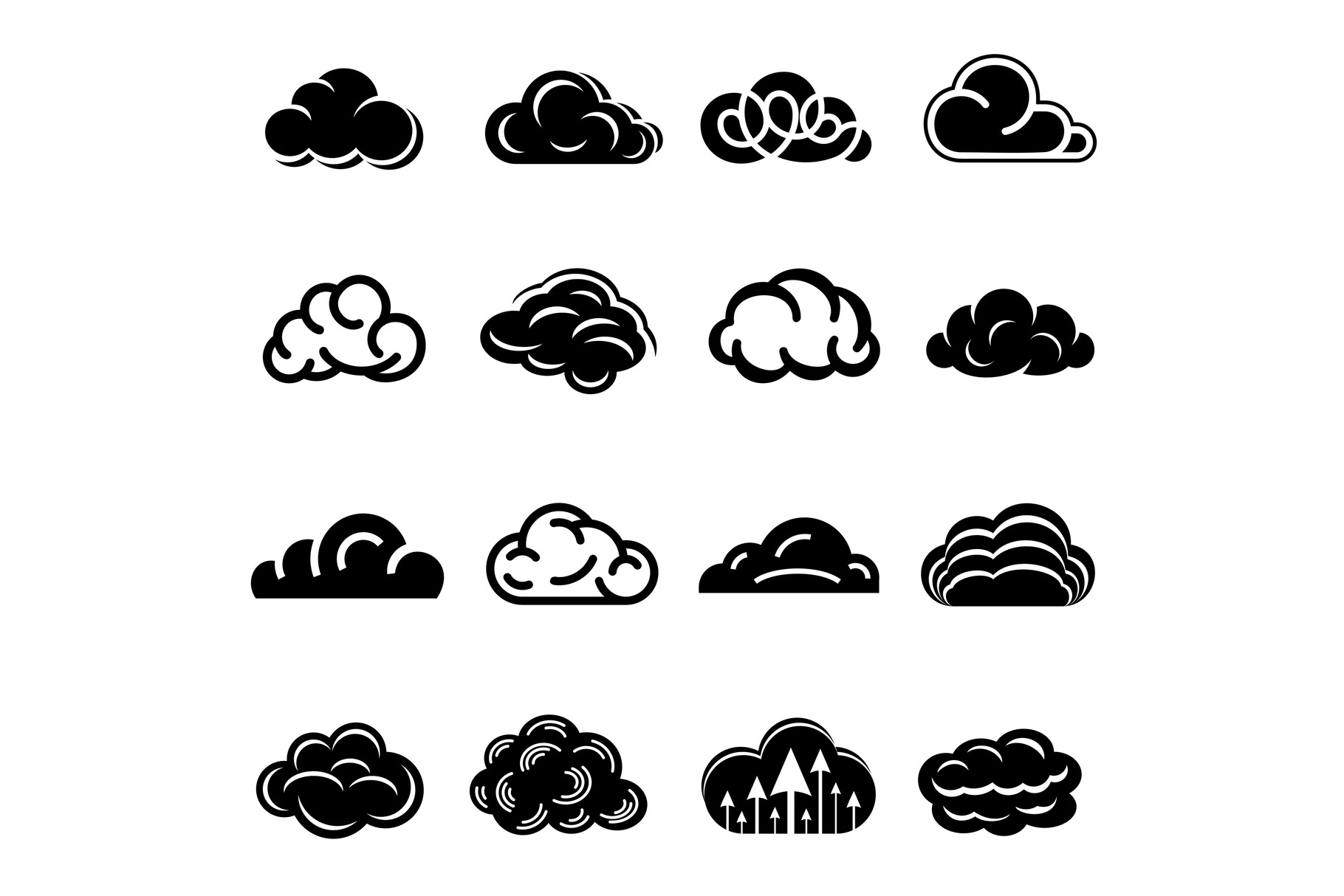 Cloud icons set, simple style example image 1