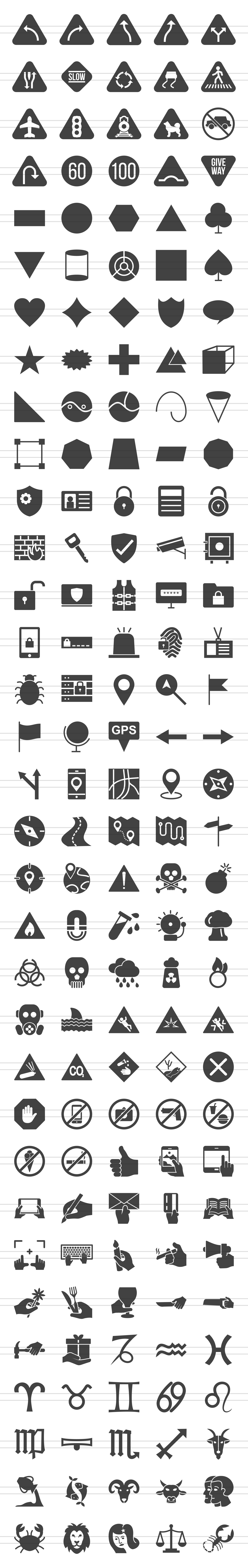 166 Sign Glyph Icons example image 2