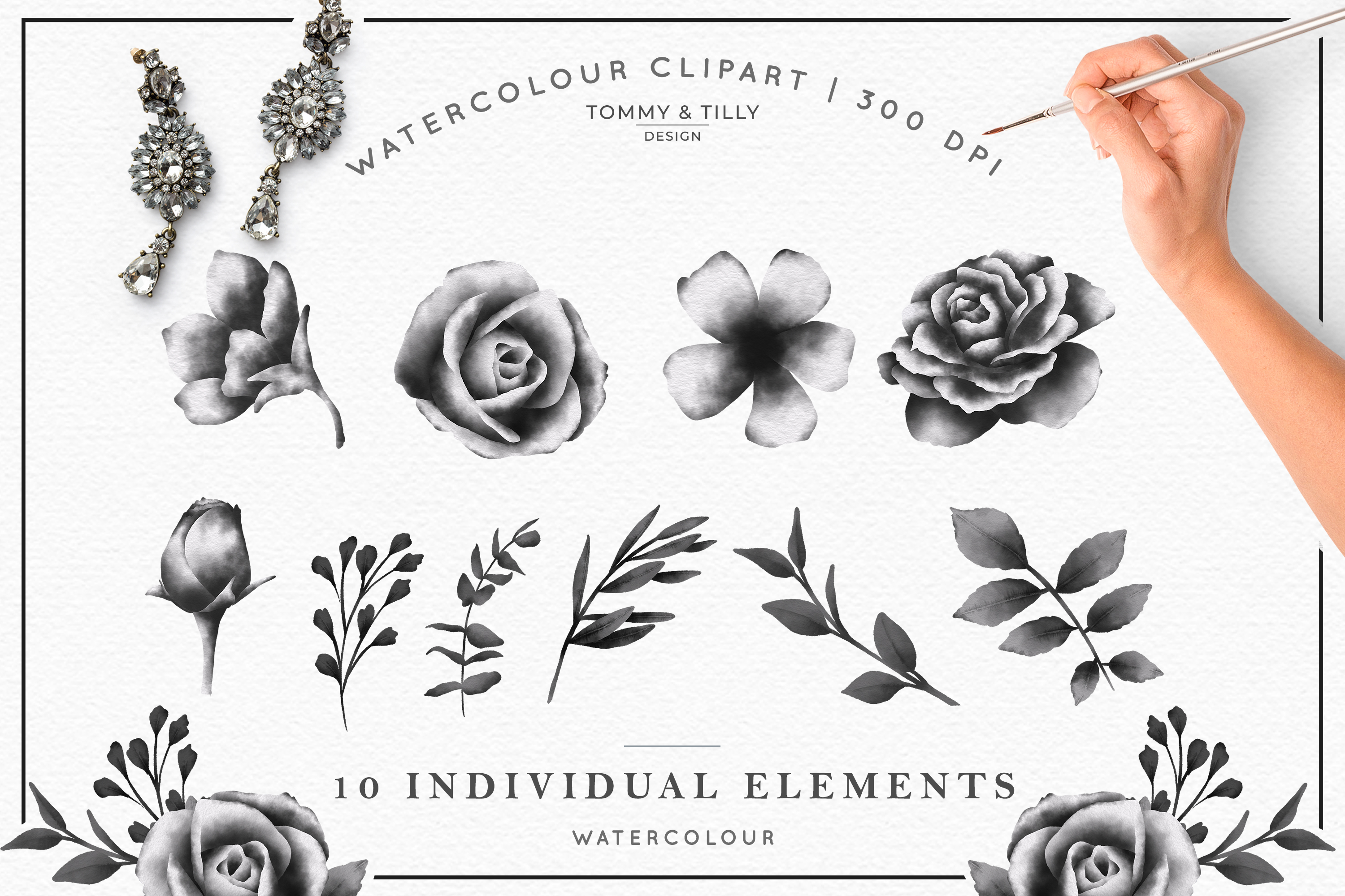 Watercolour Black Floral Collection - Wedding Clipart PNG example image 3