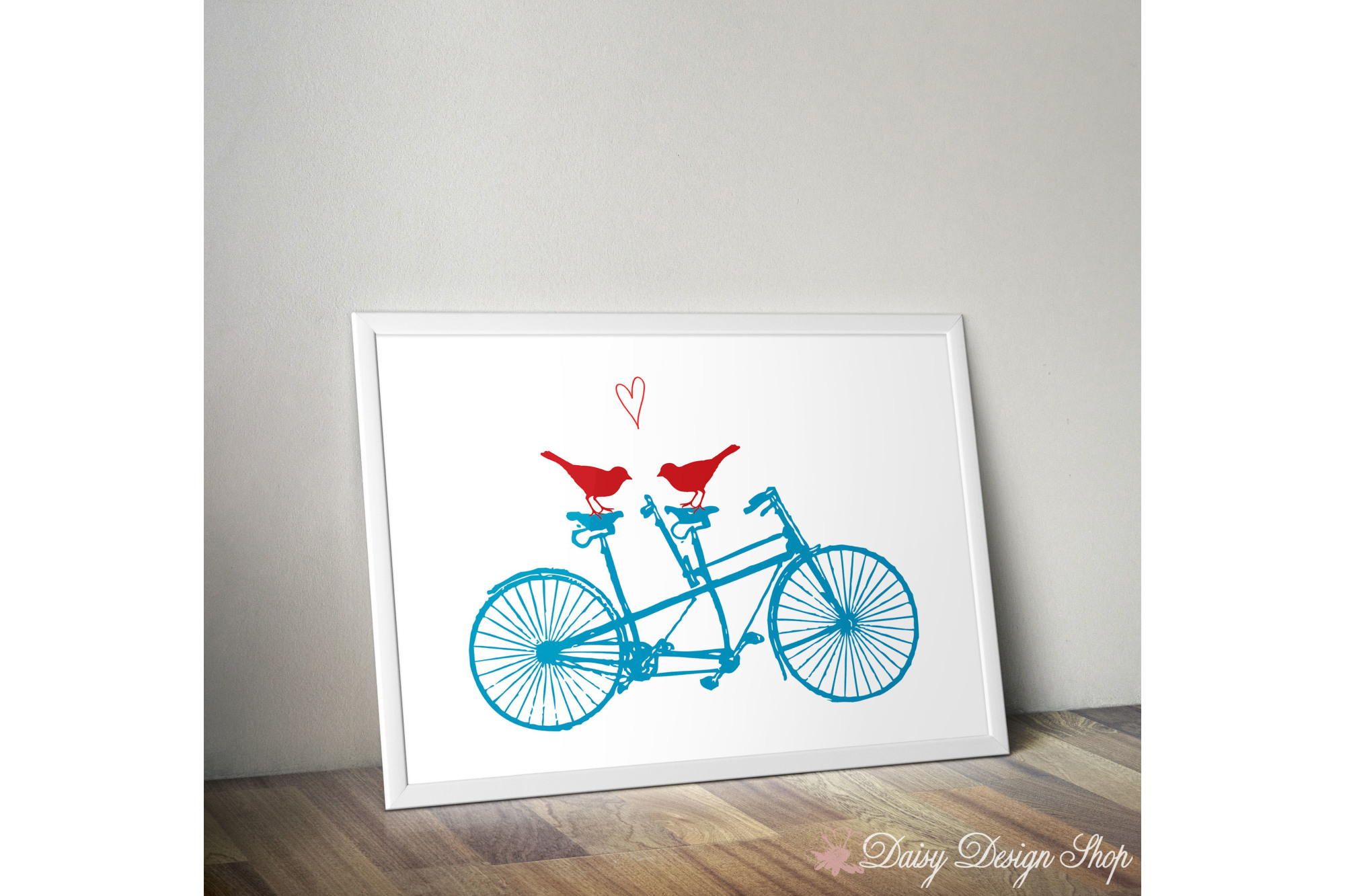 Art Print - Bicycle Two-Seater with Birds and Heart - 8x10 Printable example image 1