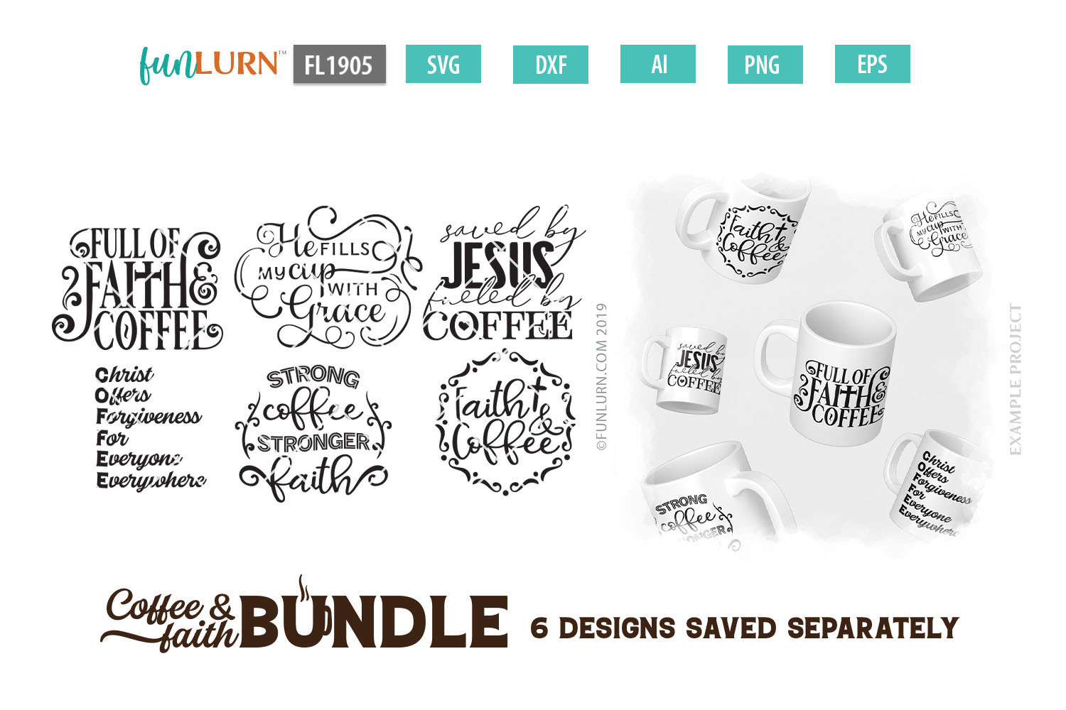 Coffee and Faith SVG Bundle example image 2