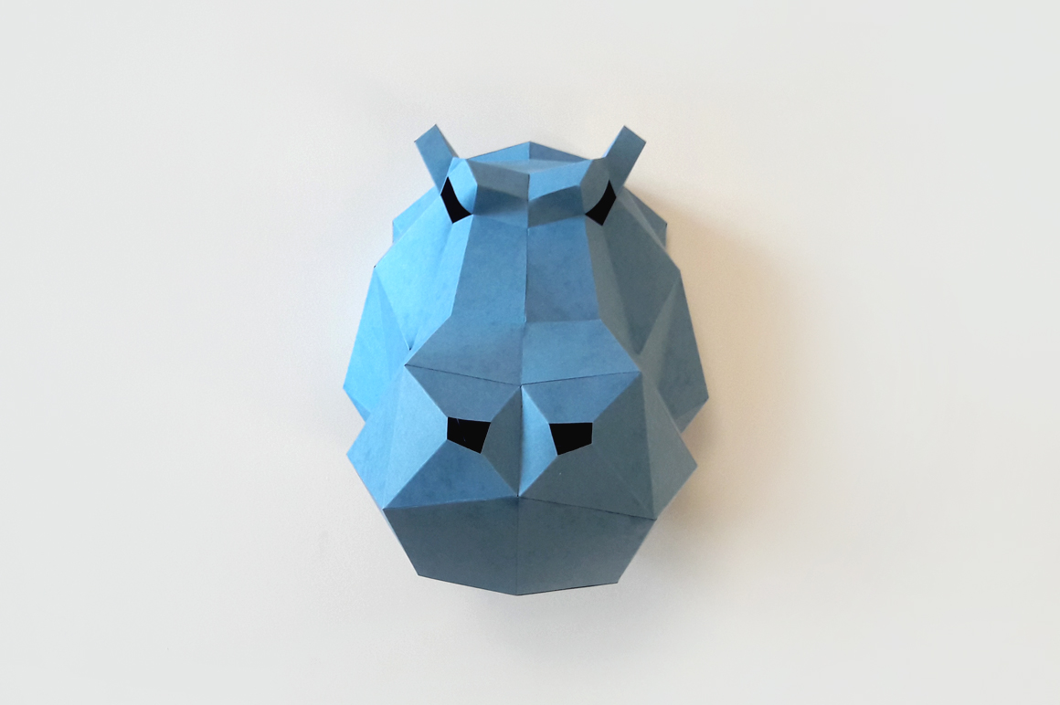 DIY Hippo head Trophy - 3d papercraft example image 4