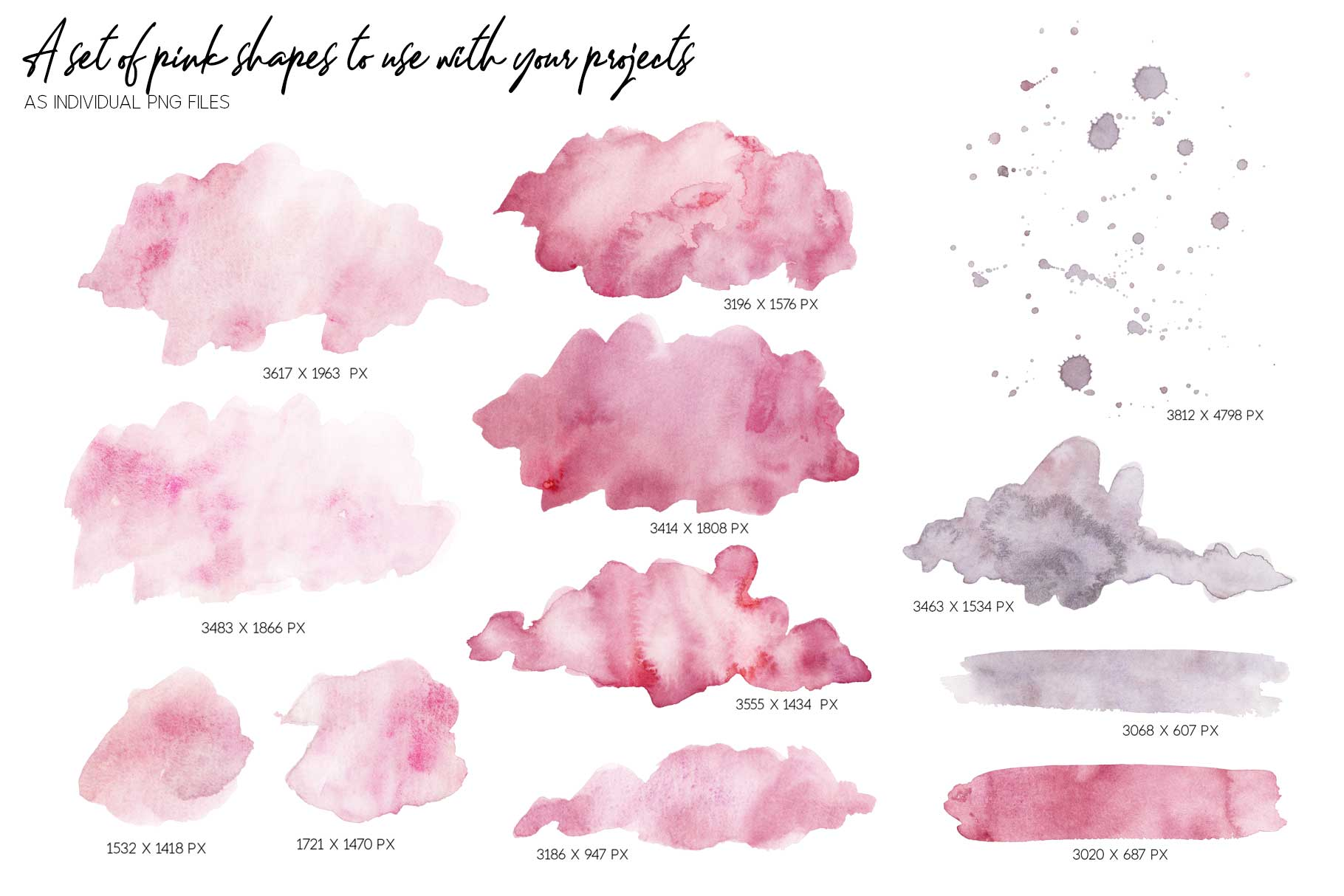15 Huge Seamless Pink & Grey Watercolor Textures example image 12