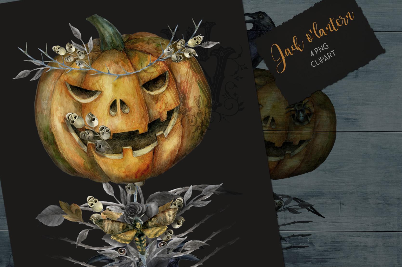 Halloween watercolor pack, Jack o Lantern pumpkin, wreath example image 4