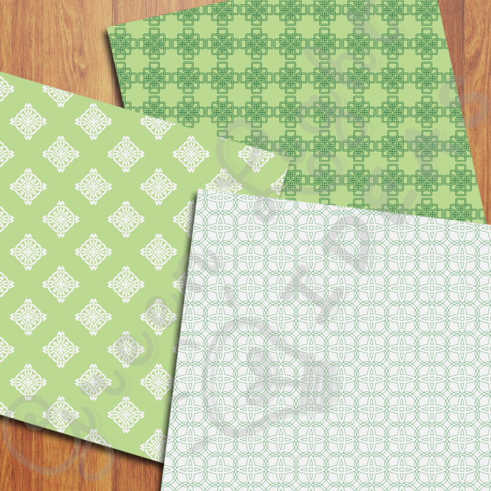 Celtic Digital Papers, St Patrick's Day Backgrounds, Irish Papers example image 3