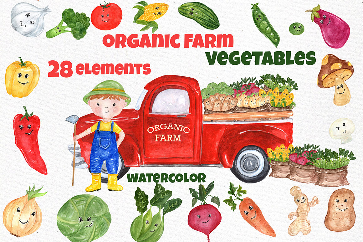 Watercolor Vegetables clipart example image 1