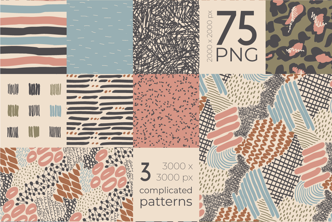 Neutral Hand Drawn Patterns Bundle example image 3