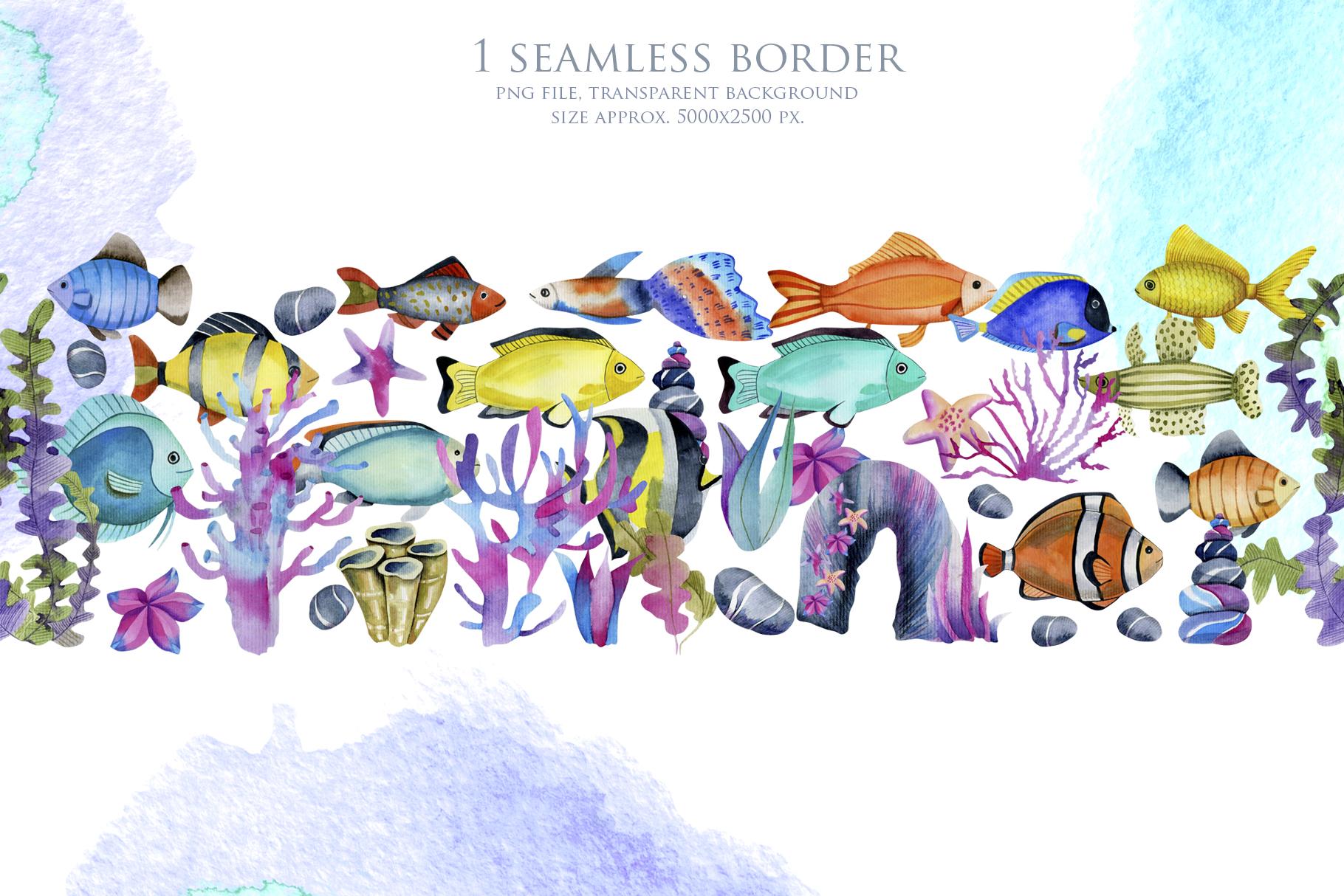 Sea life. Watercolor clip art. example image 7