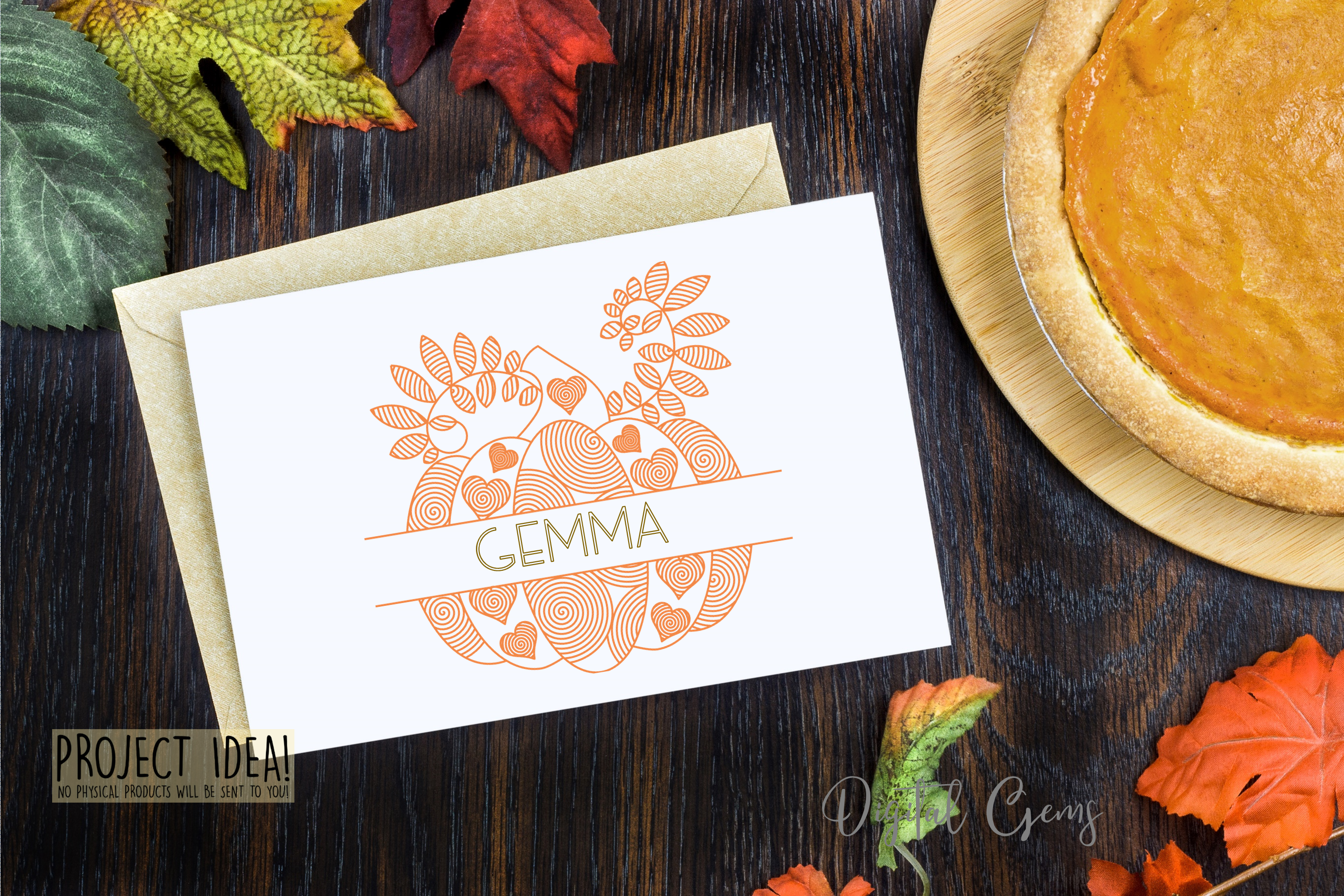 Pumpkin, single line sketch files / foil quill files example image 2