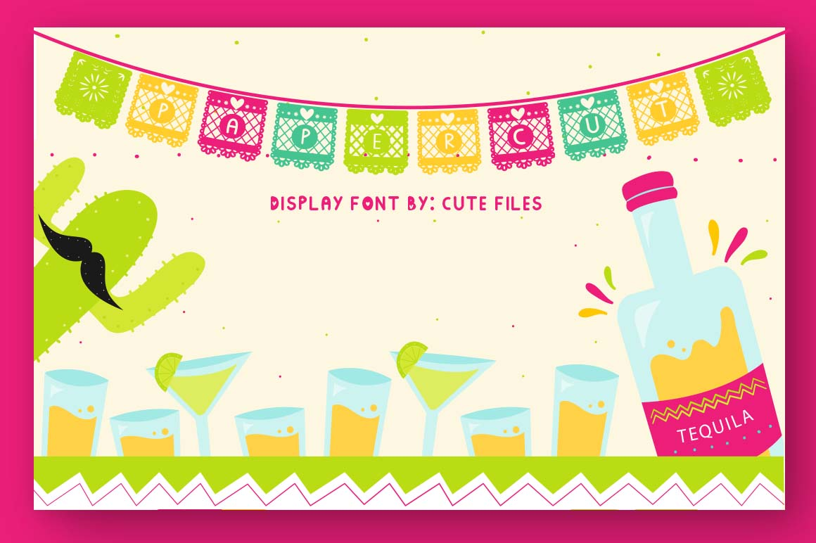 Papercut blocks font a mexican party banner example image 1