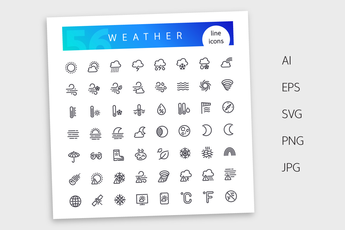 Weather Line Icons Set example image 4