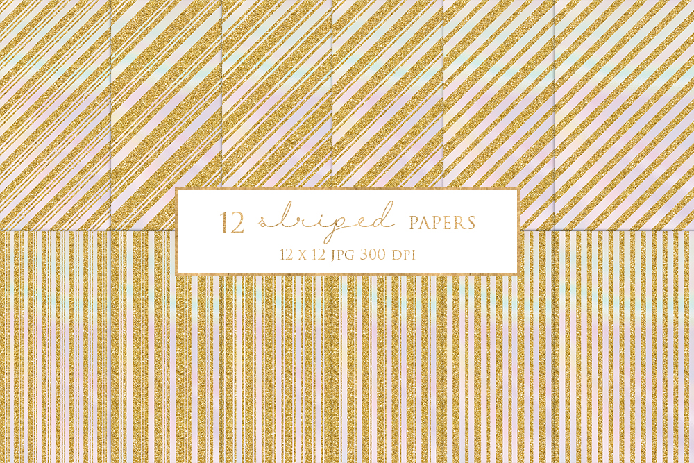 12 Gold Striped Digital Paper Pack example image 1