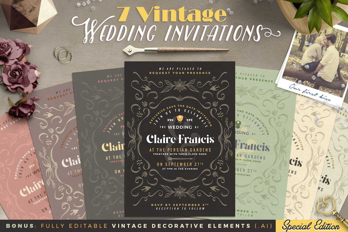 7 Vintage Deco Wedding Invitations I example image 1