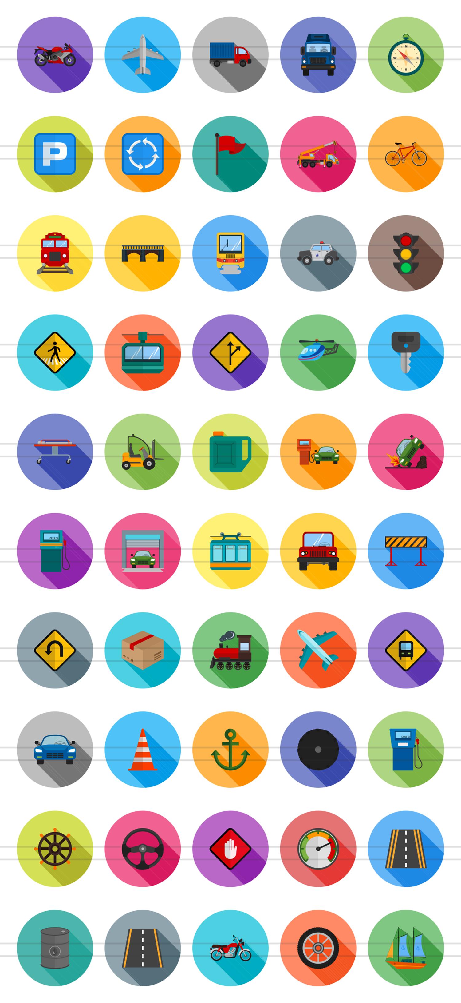 50 Transportation Flat Long Shadow Icons example image 2