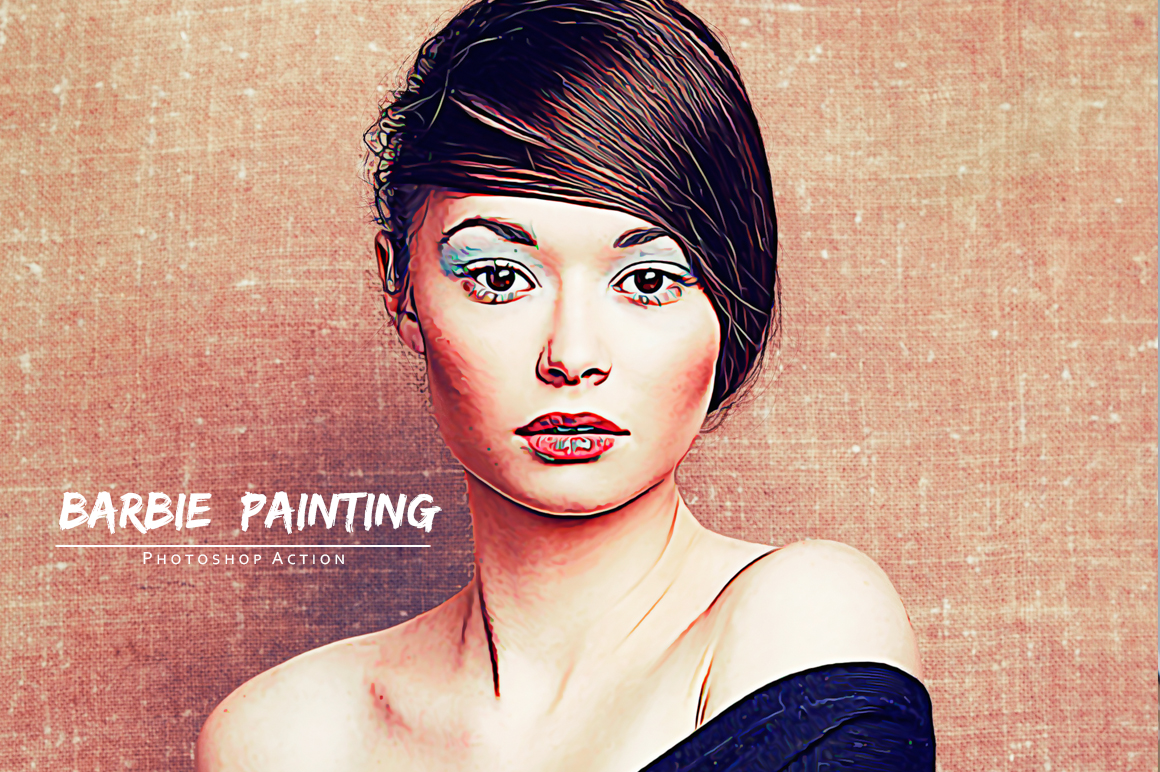 Barbie Painting Photoshop Action example image 4