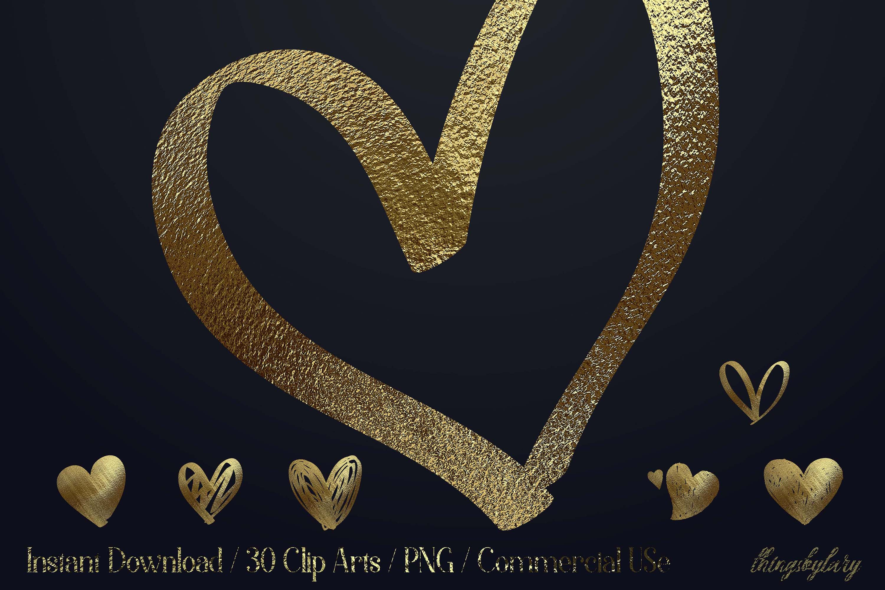 30 Realistic 24k Gold Metallic Hand Drawn Heart Clip Arts example image 1