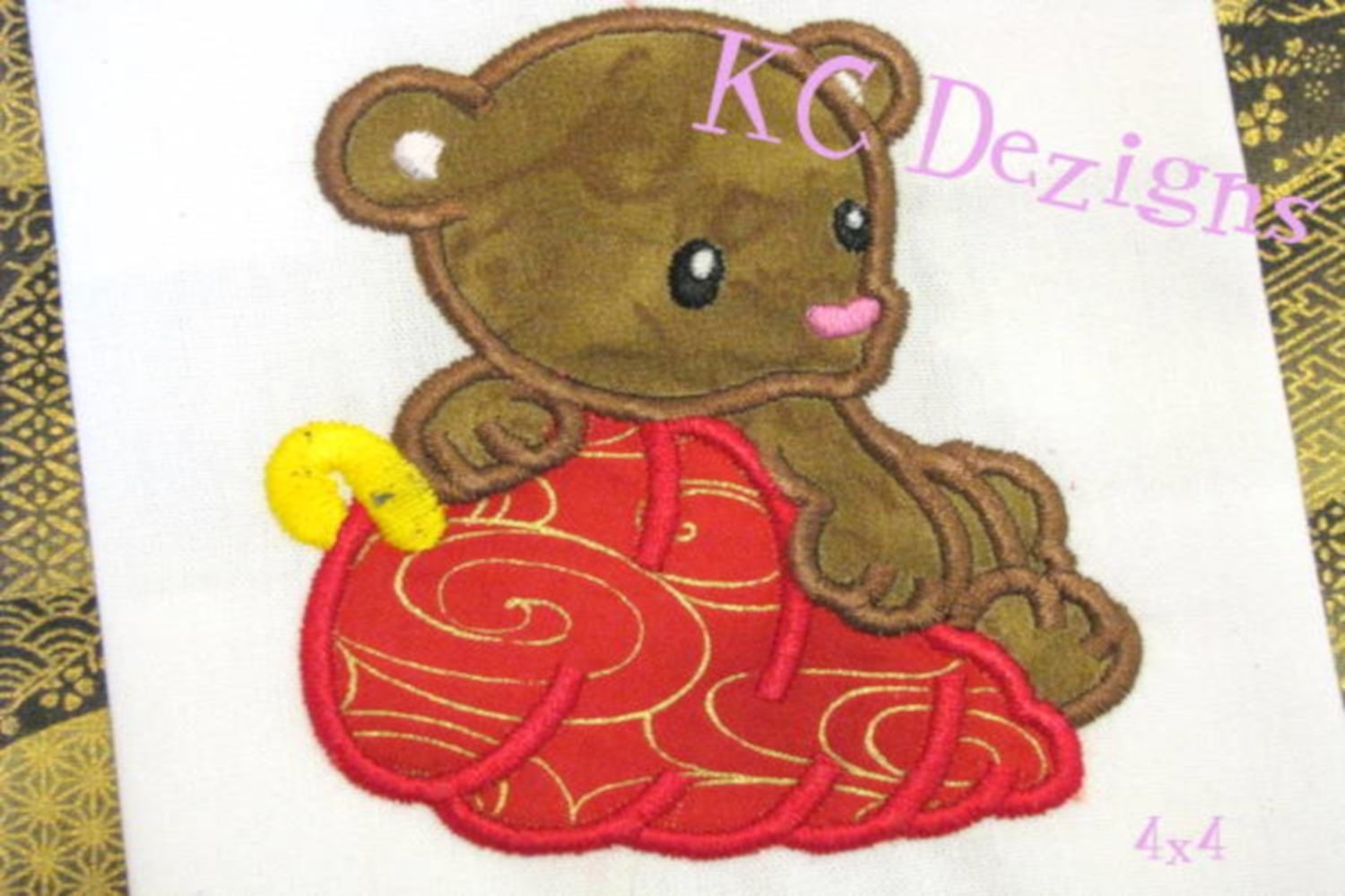 Christmas Bear Machine Applique Embroidery Design example image 3