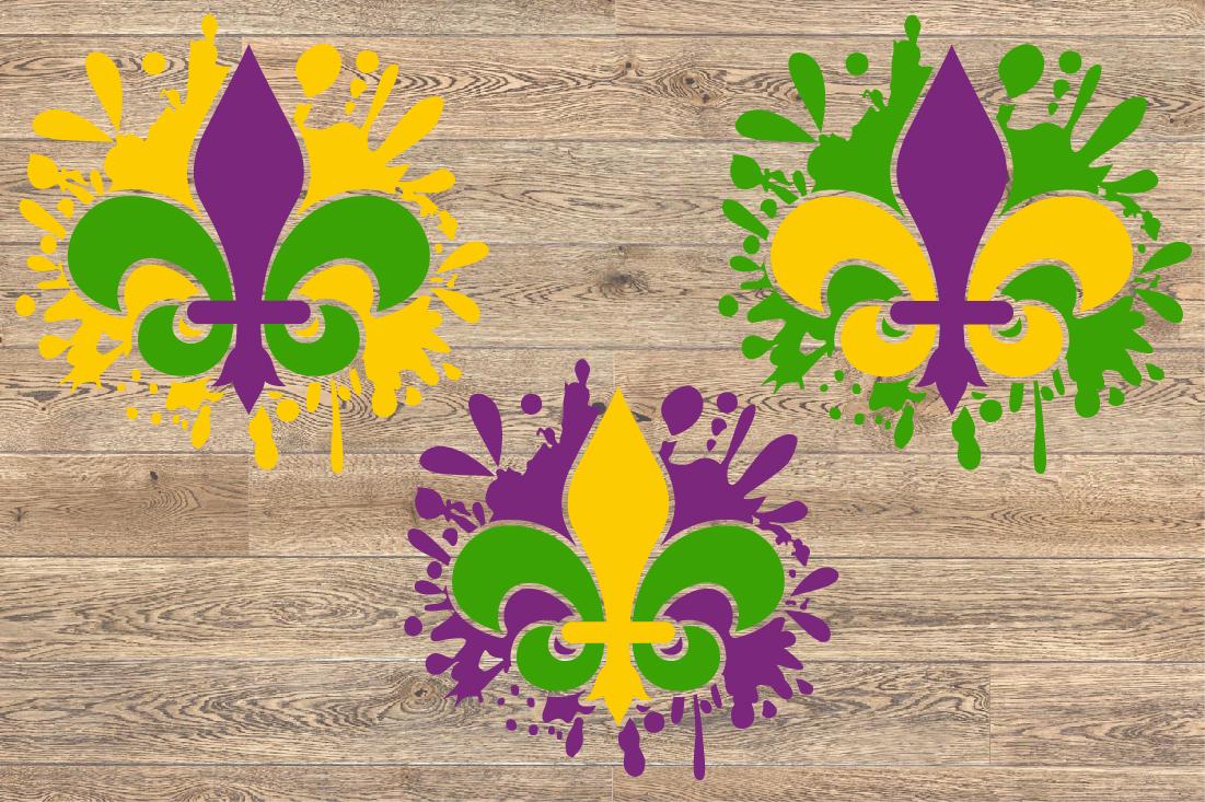 Fleur de Lis Mask Mardi ink Splash Gras SVG Tuesday 1262s example image 2