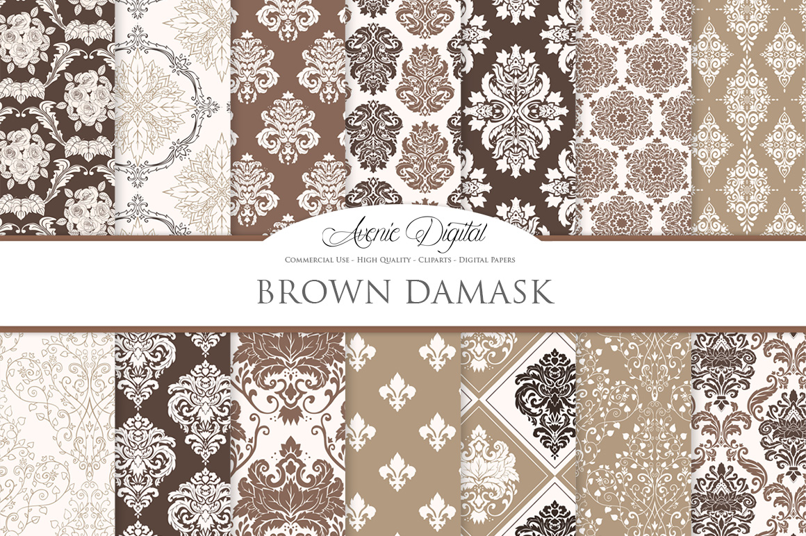 Brown Damask Patterns - Seamless Digital Papers example image 2
