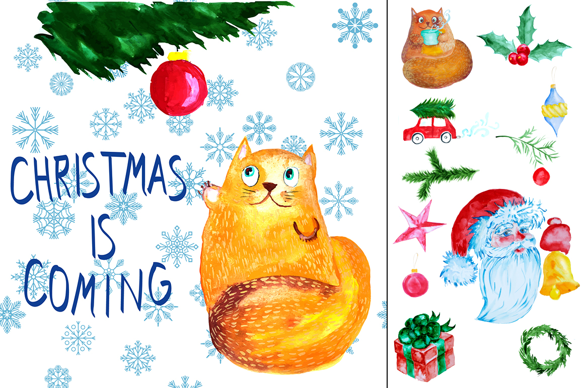 Watercolor christmas elements set example image 3