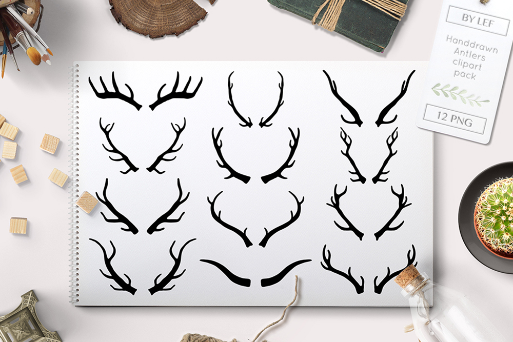 black antlers clipart PNG example image 1