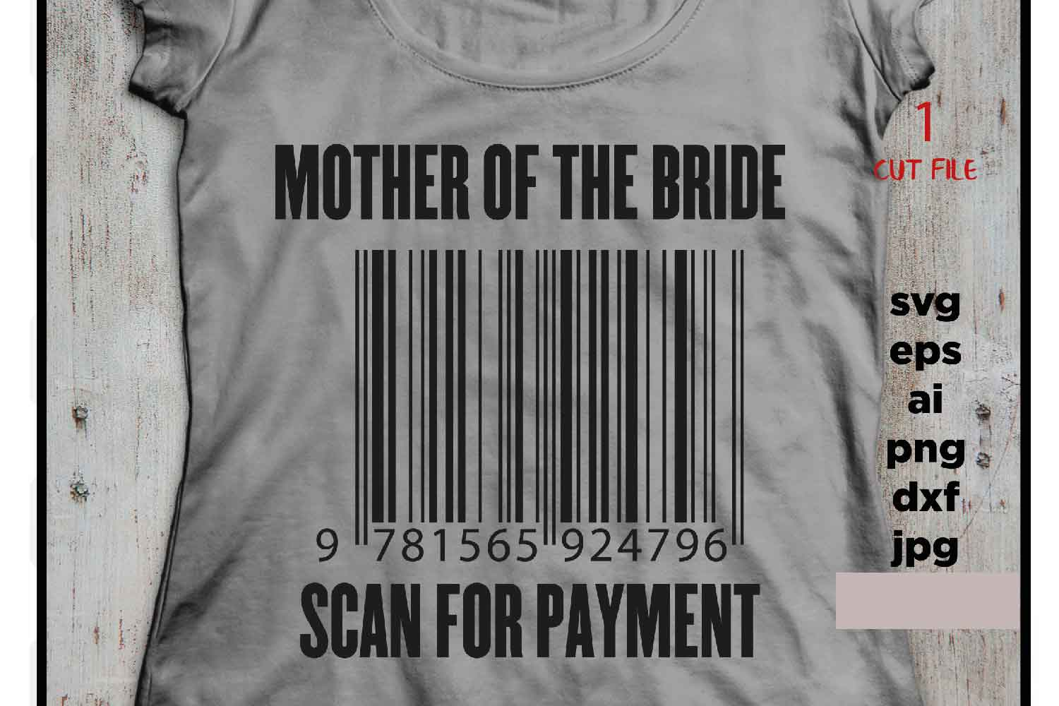 Mother of the Bride scan for payment svg file, DIY Bridal P example image 2
