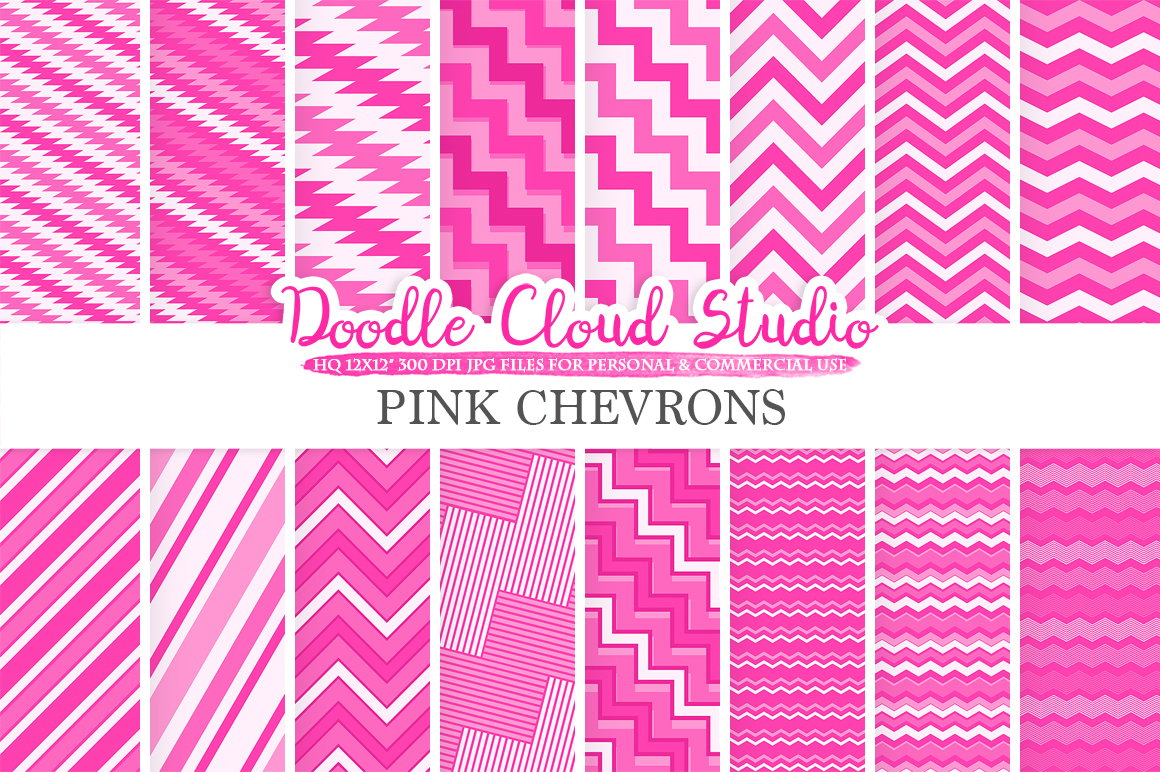 Pink Chevron digital paper, Chevron and Stripes  pattern, Zig Zag lines background, Instant Download for Personal & Commercial Use example image 1