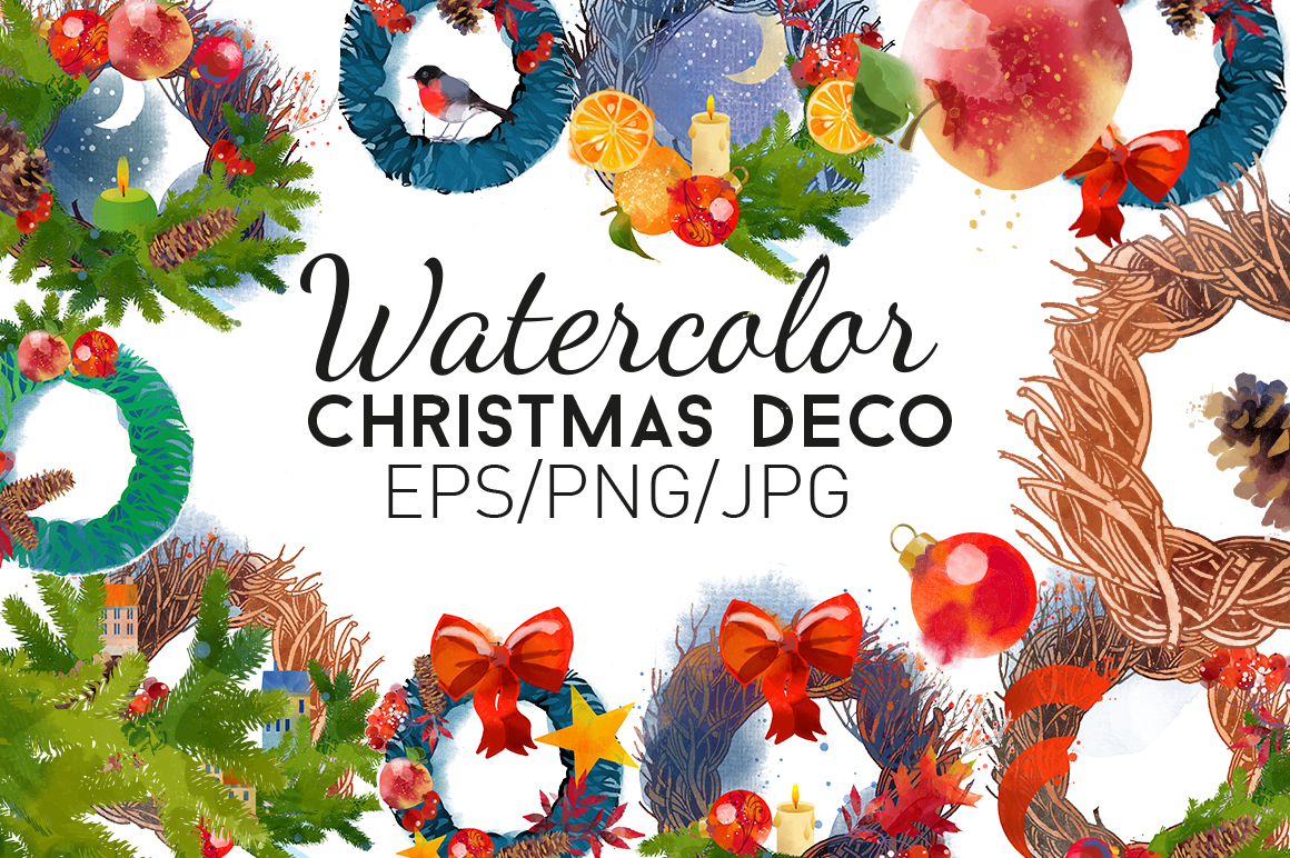 Watercolor christmas deco example image 1
